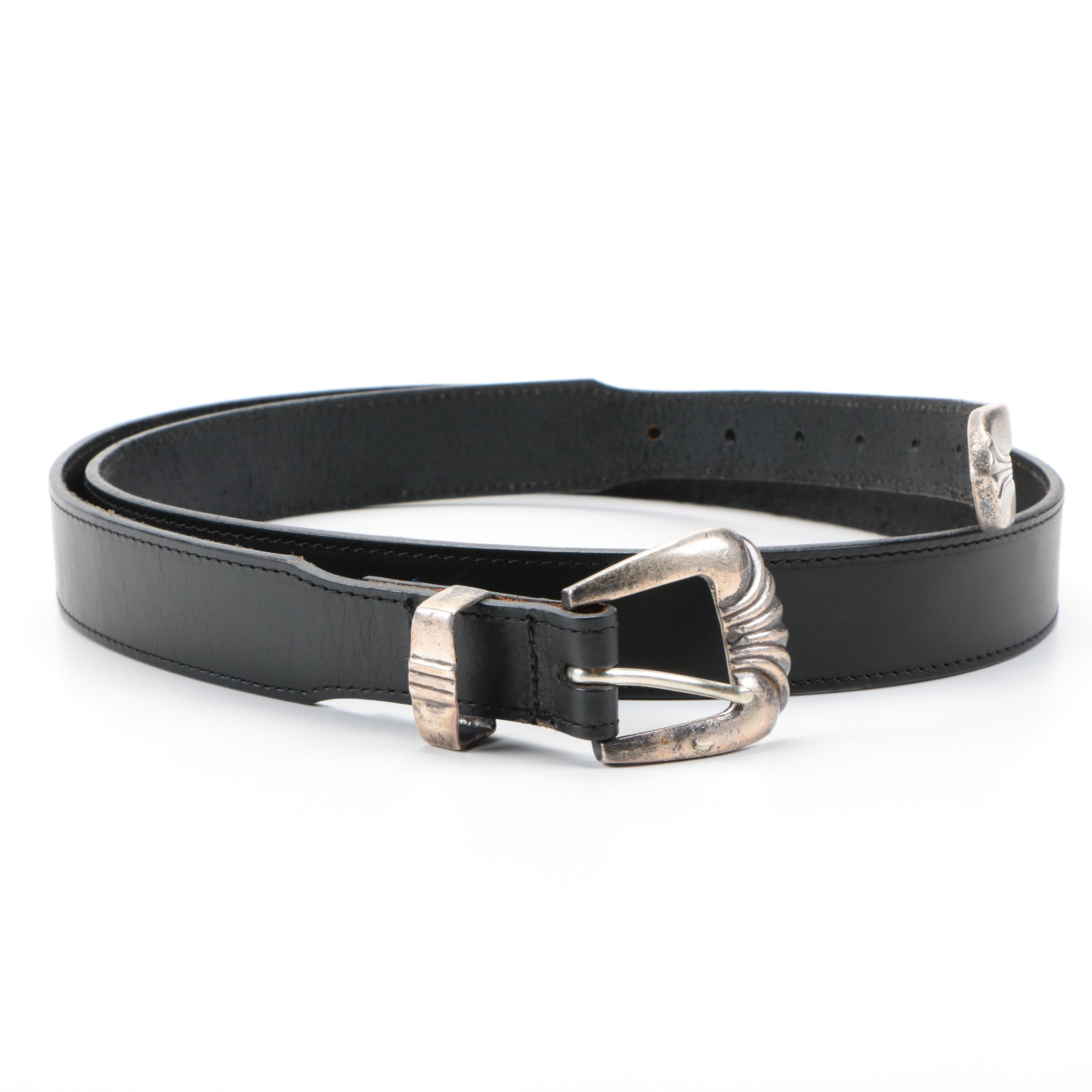 Men's Sterling Silver and Leather Belt
