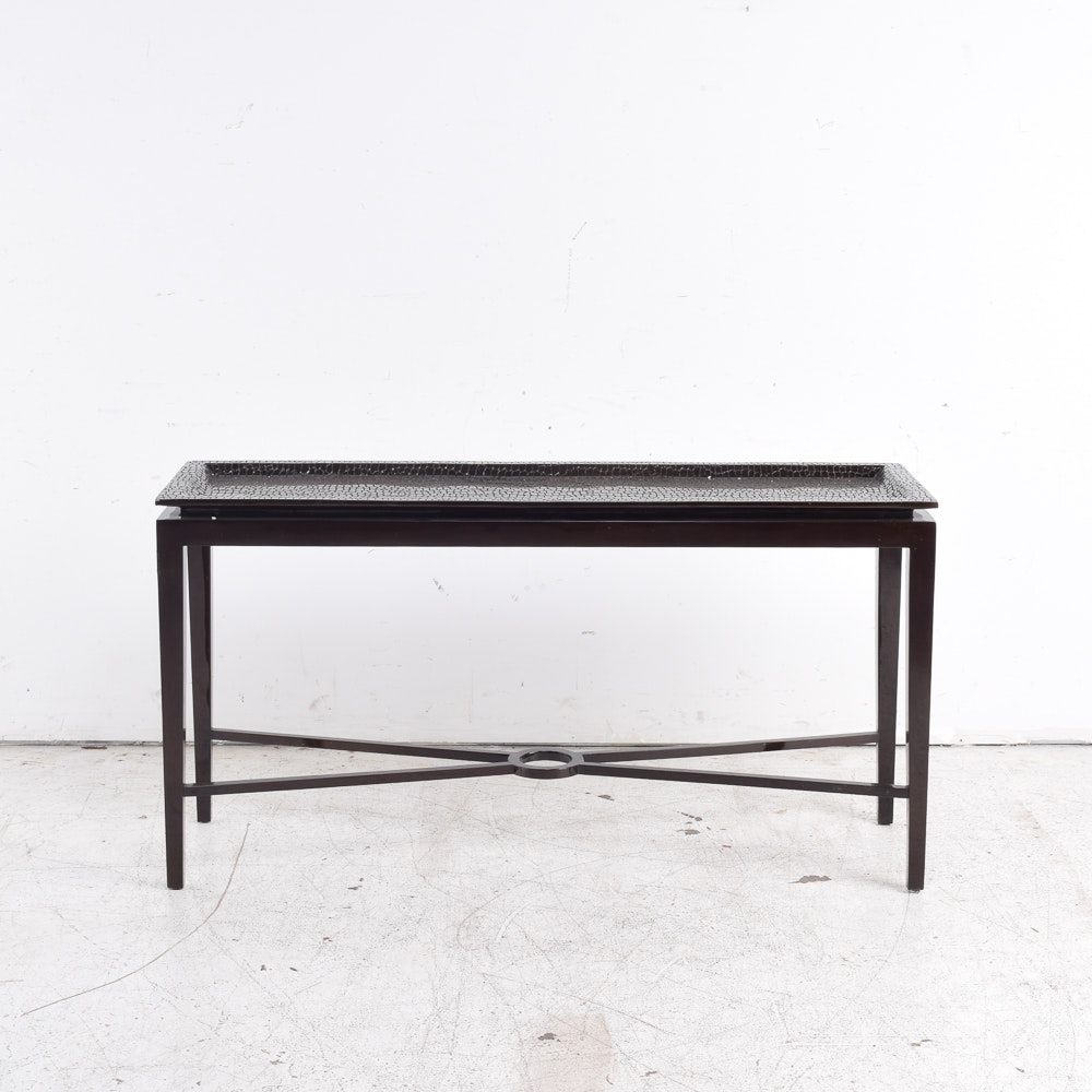 Contemporary Faux Alligator Tray Console Table