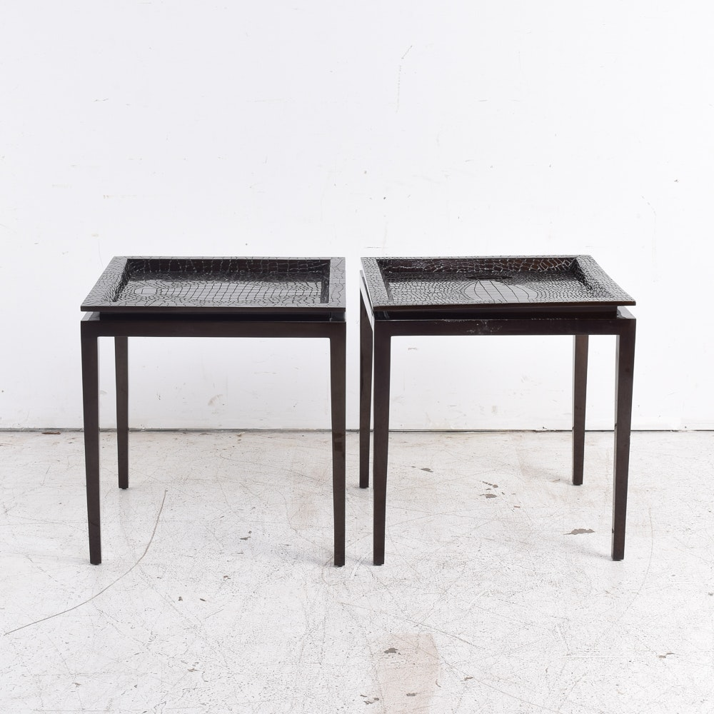 Two Accent Tables with Faux Snakeskin Tops