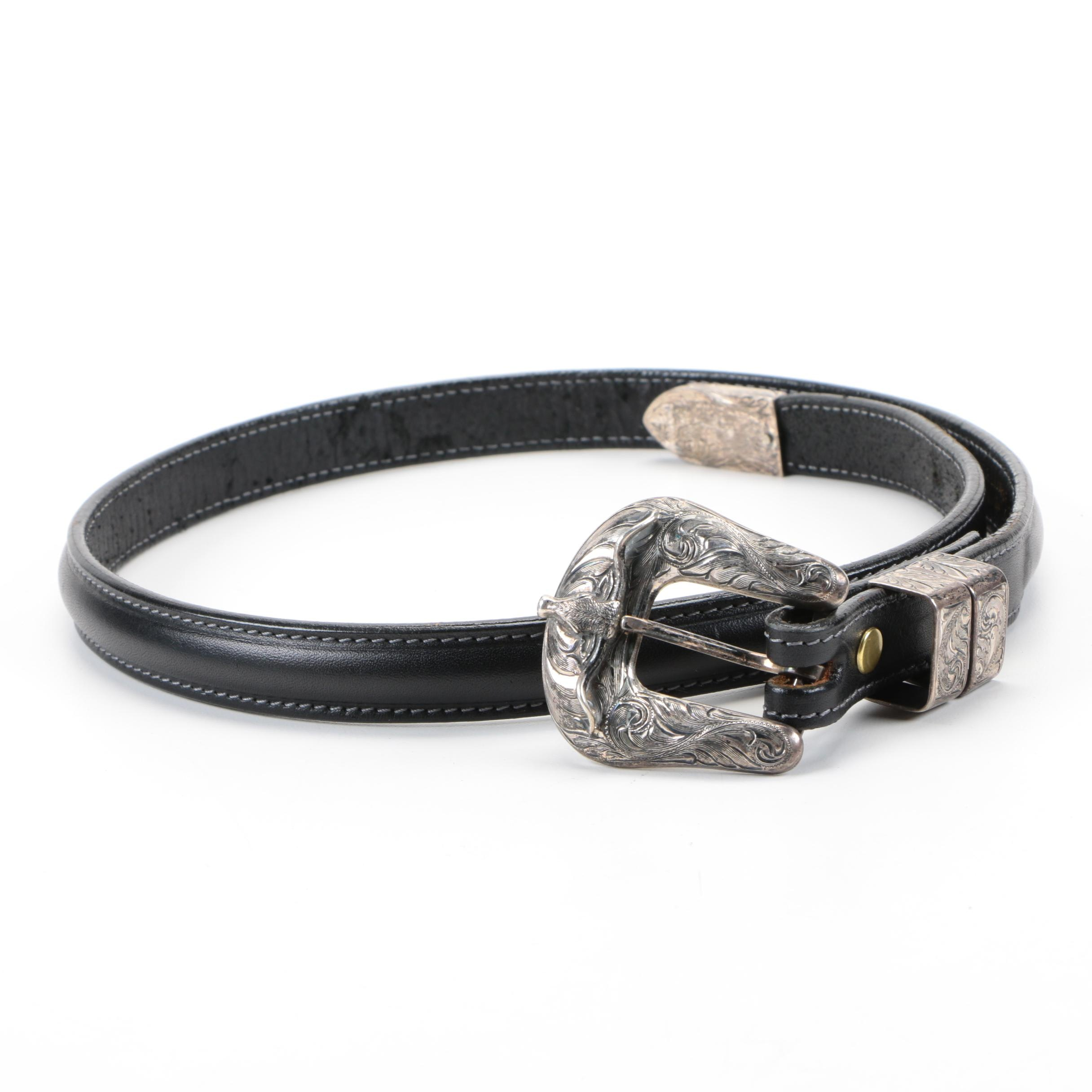 Chit Vogt Sterling Silver and Leather Belt
