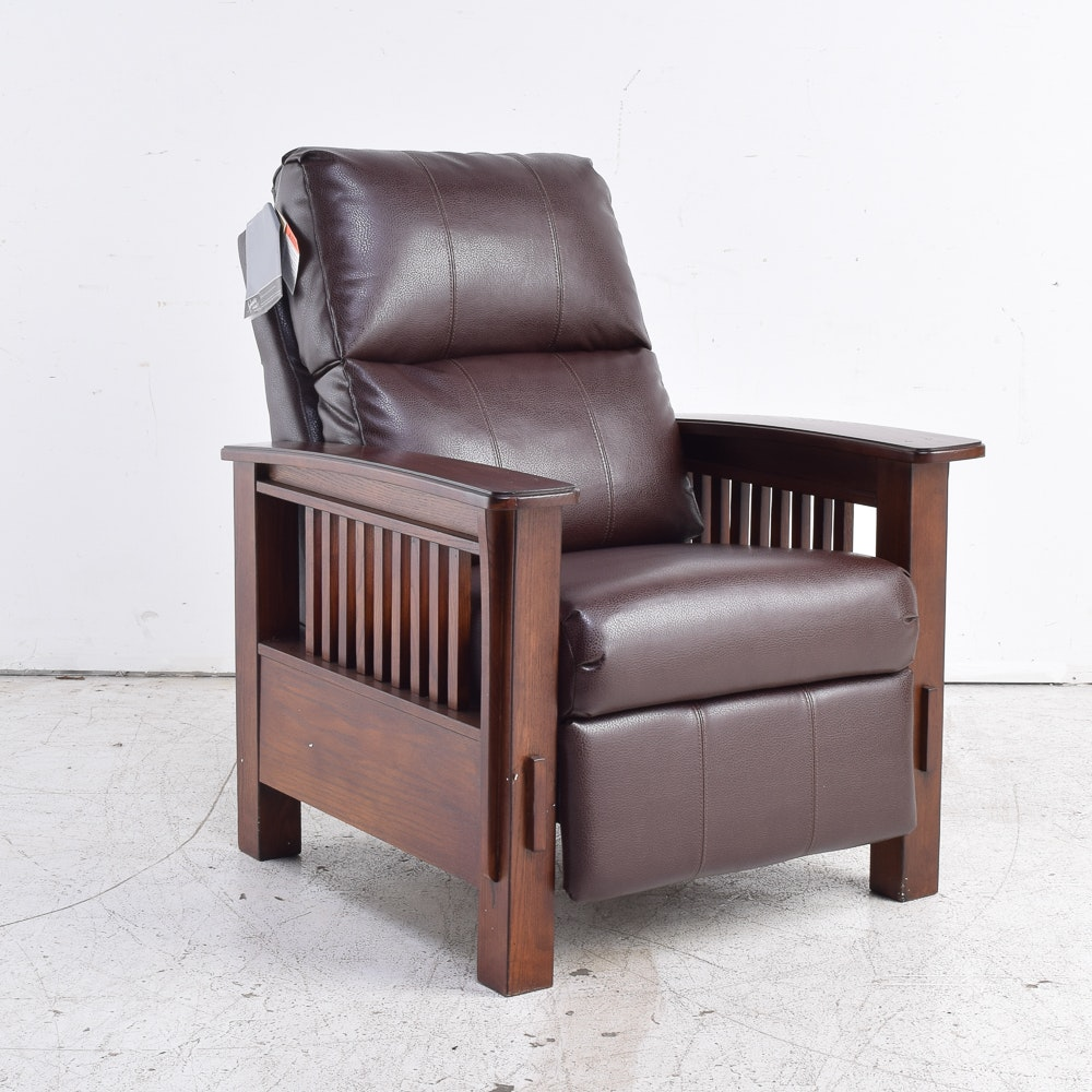 Mission Style Leather Reclining Arm Chair By Ashley