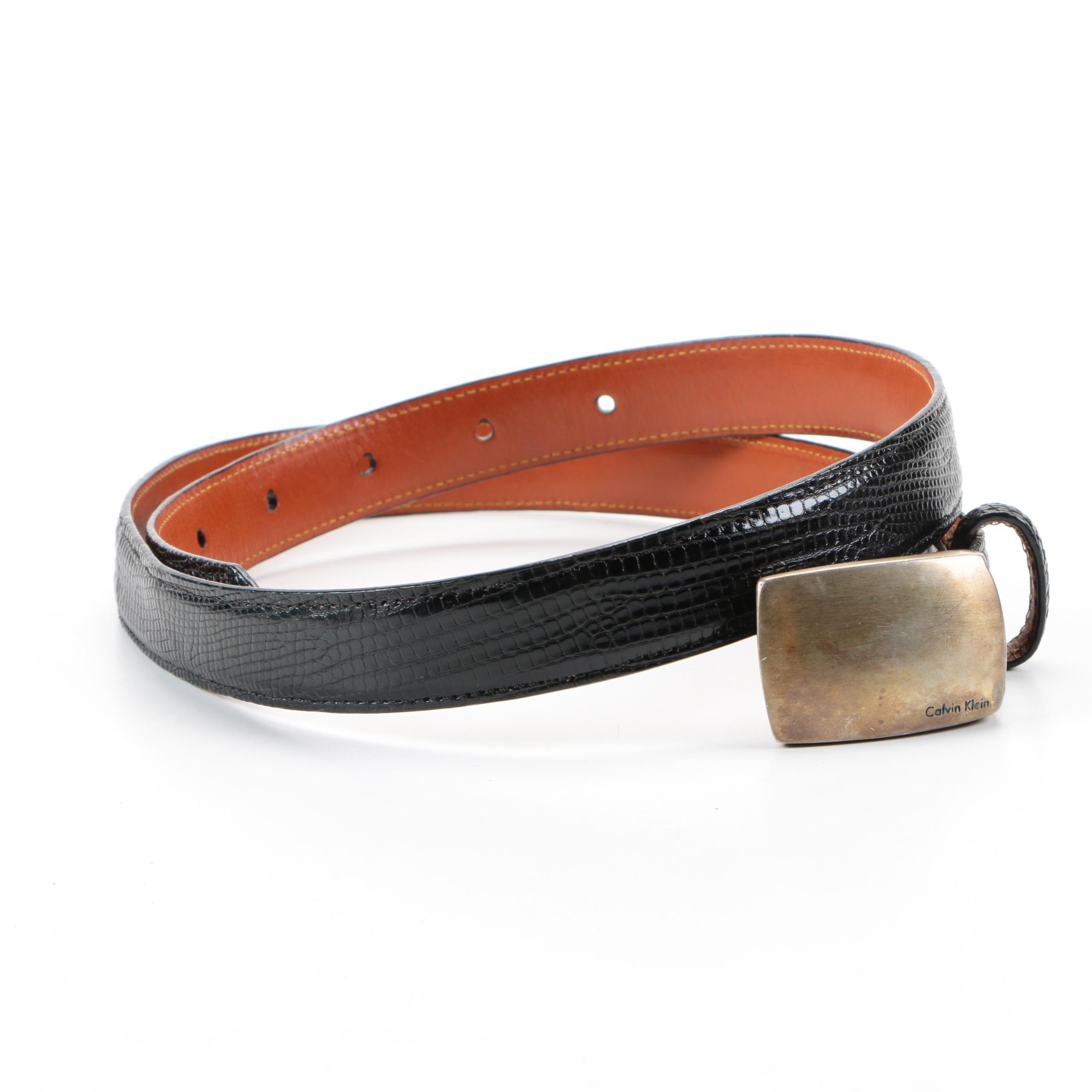 Men's Calvin Klein Sterling Silver and Lizard Belt