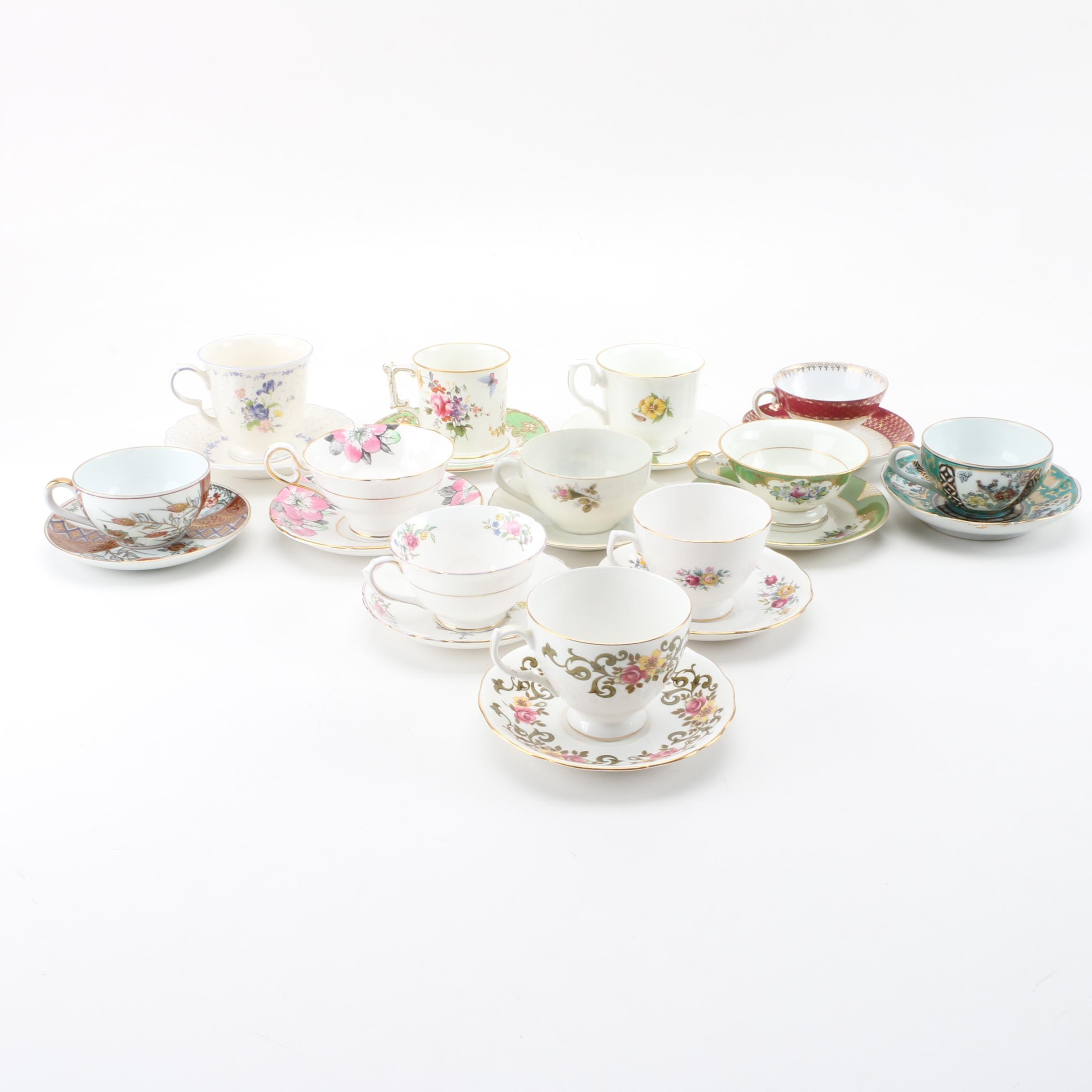 Porcelain Teacups including Antique Carl Tielsch and Co
