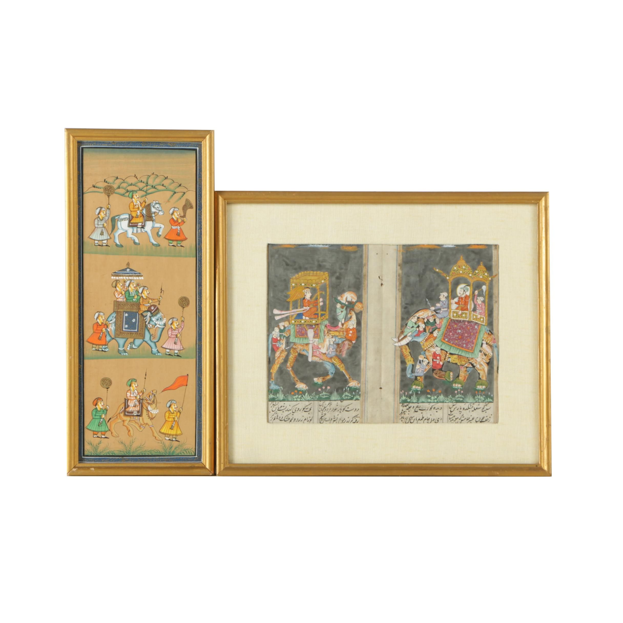 Two Watercolor and Gouache Paintings of Indo-Persian Processional Scenes