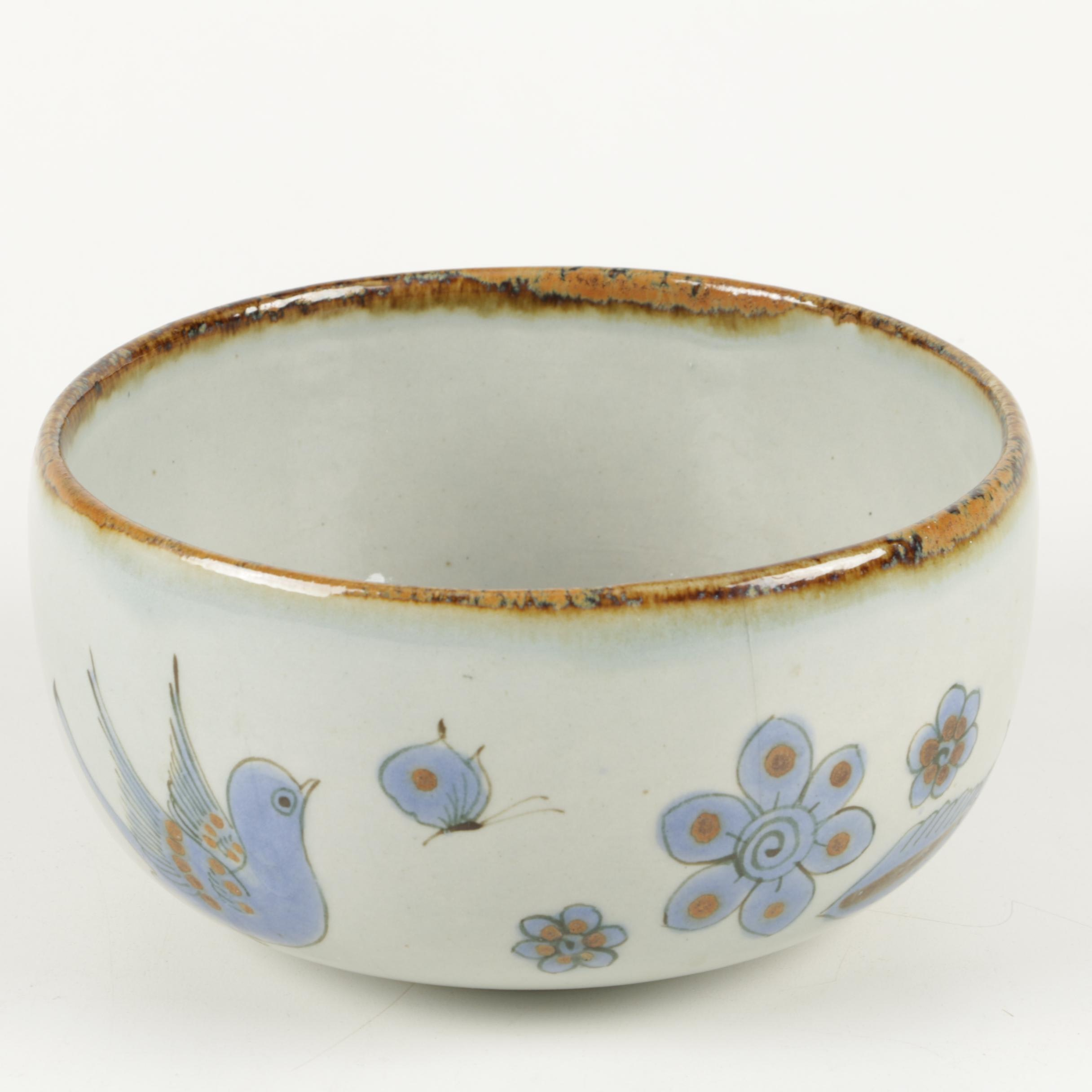 Hand-Painted Mexican Porcelain Serving Bowl
