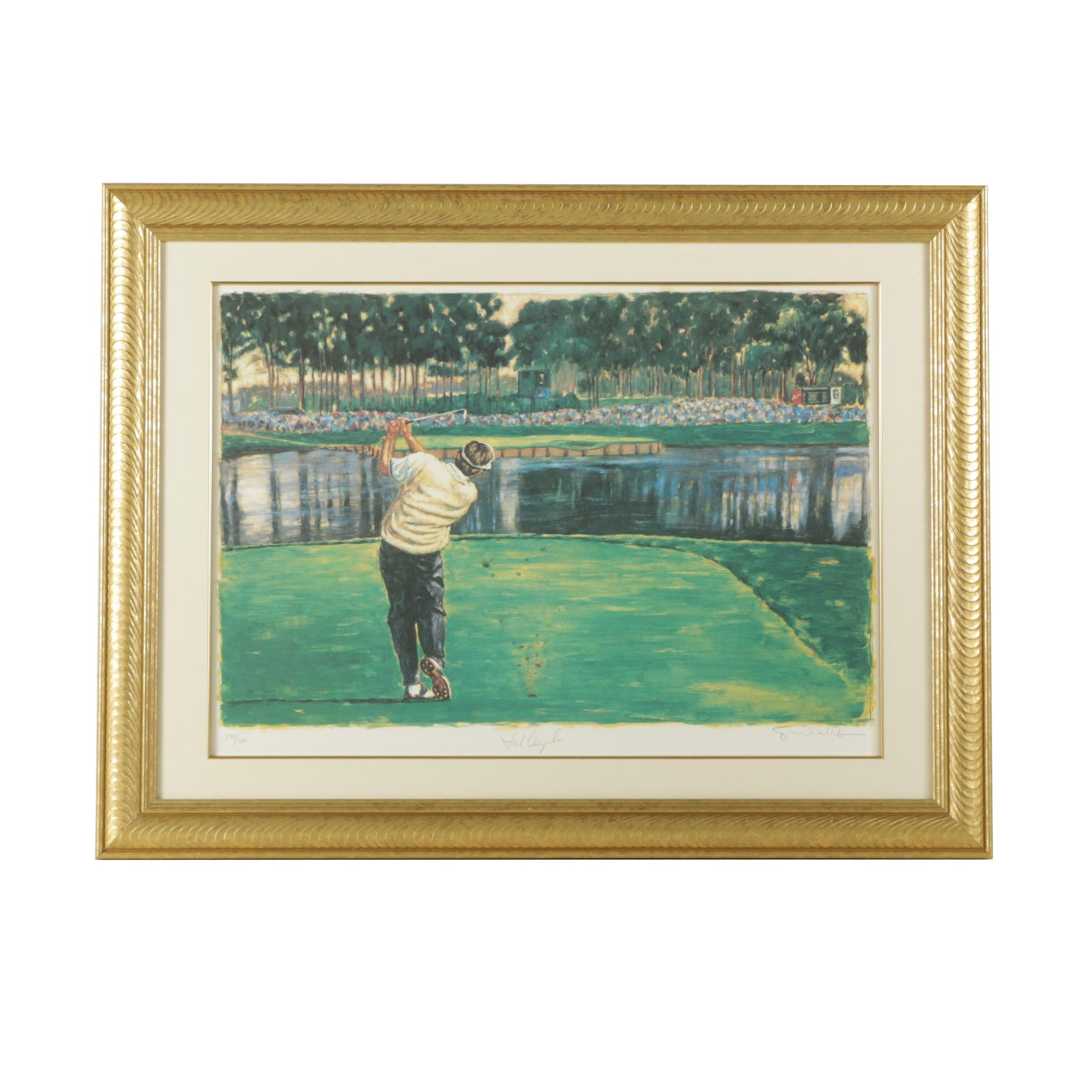 Signed Limited Edition Offset Lithograph Print after Painting of Golf Course