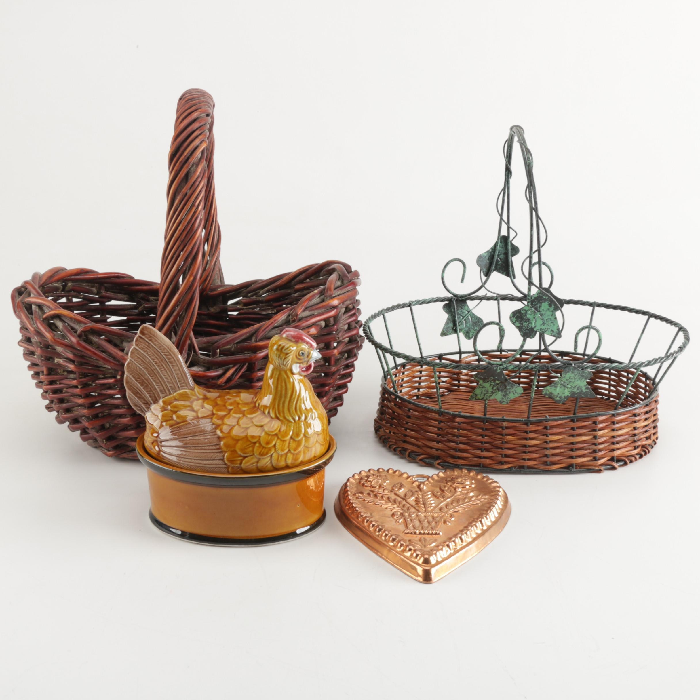 Portuguese Ceramic Hen on Nest Covered Dish with Baskets and Mold