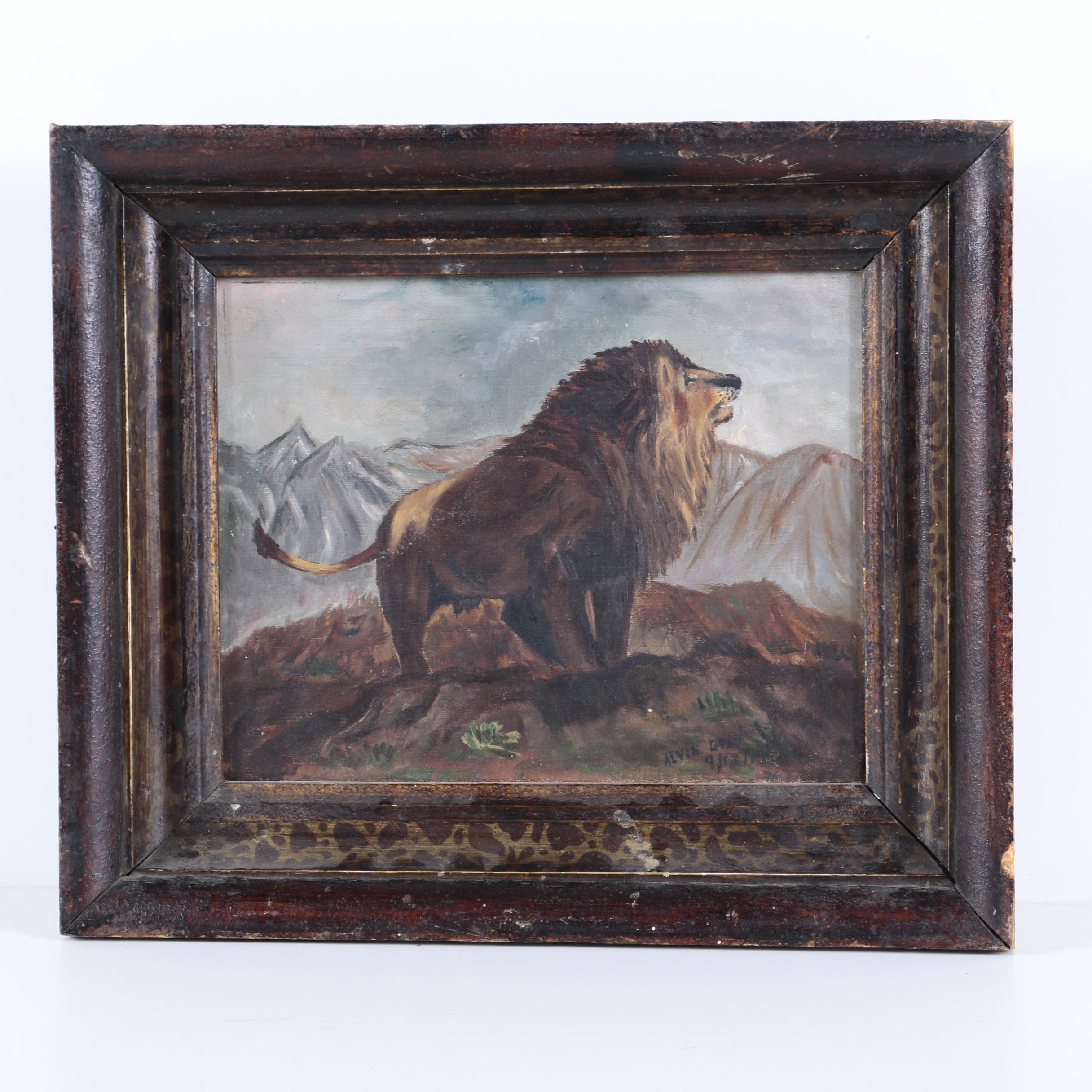 Alvin Gies Oil Painting on Canvas of a Lion