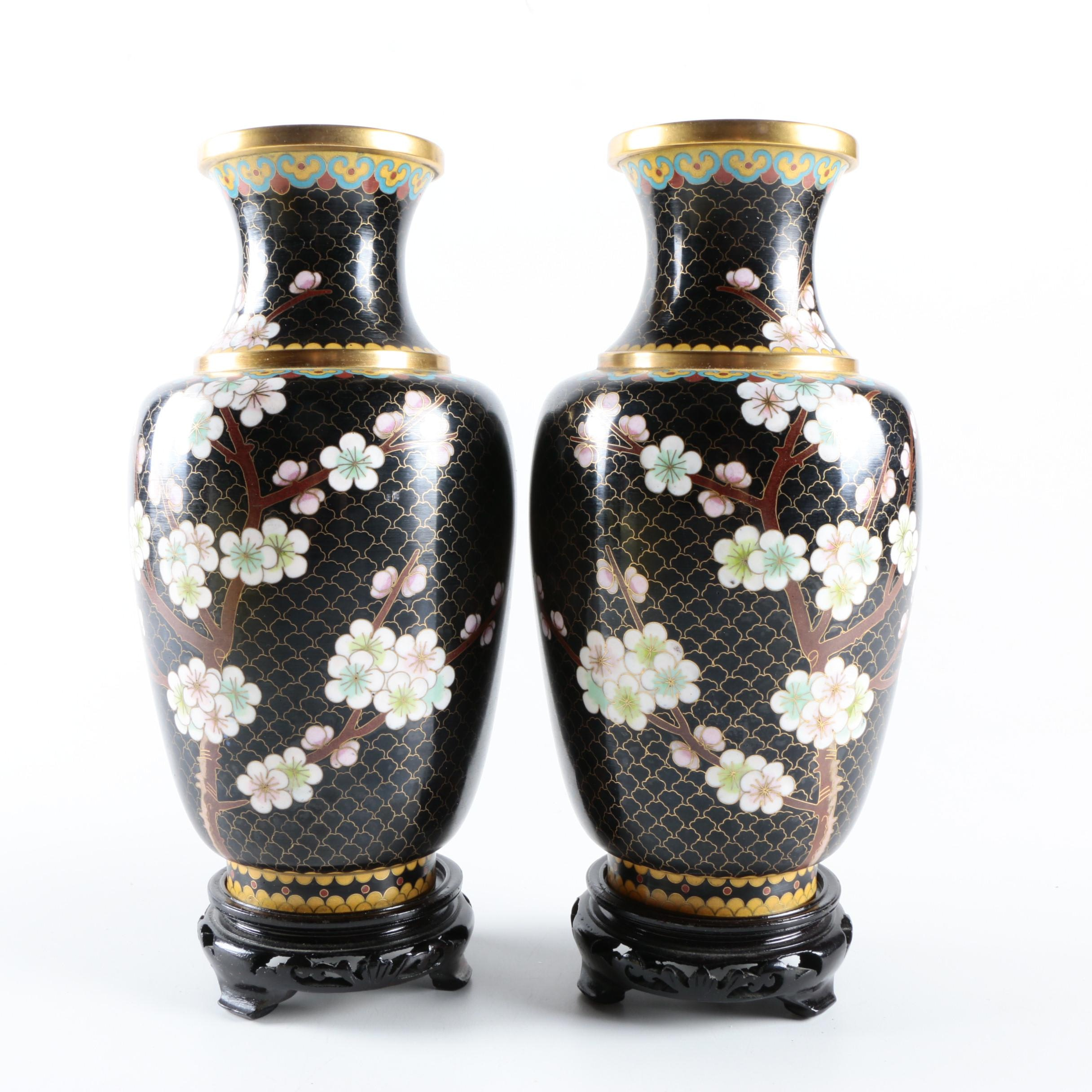 Chinese Cloisonné Vases With Plum Blossoms and Stands