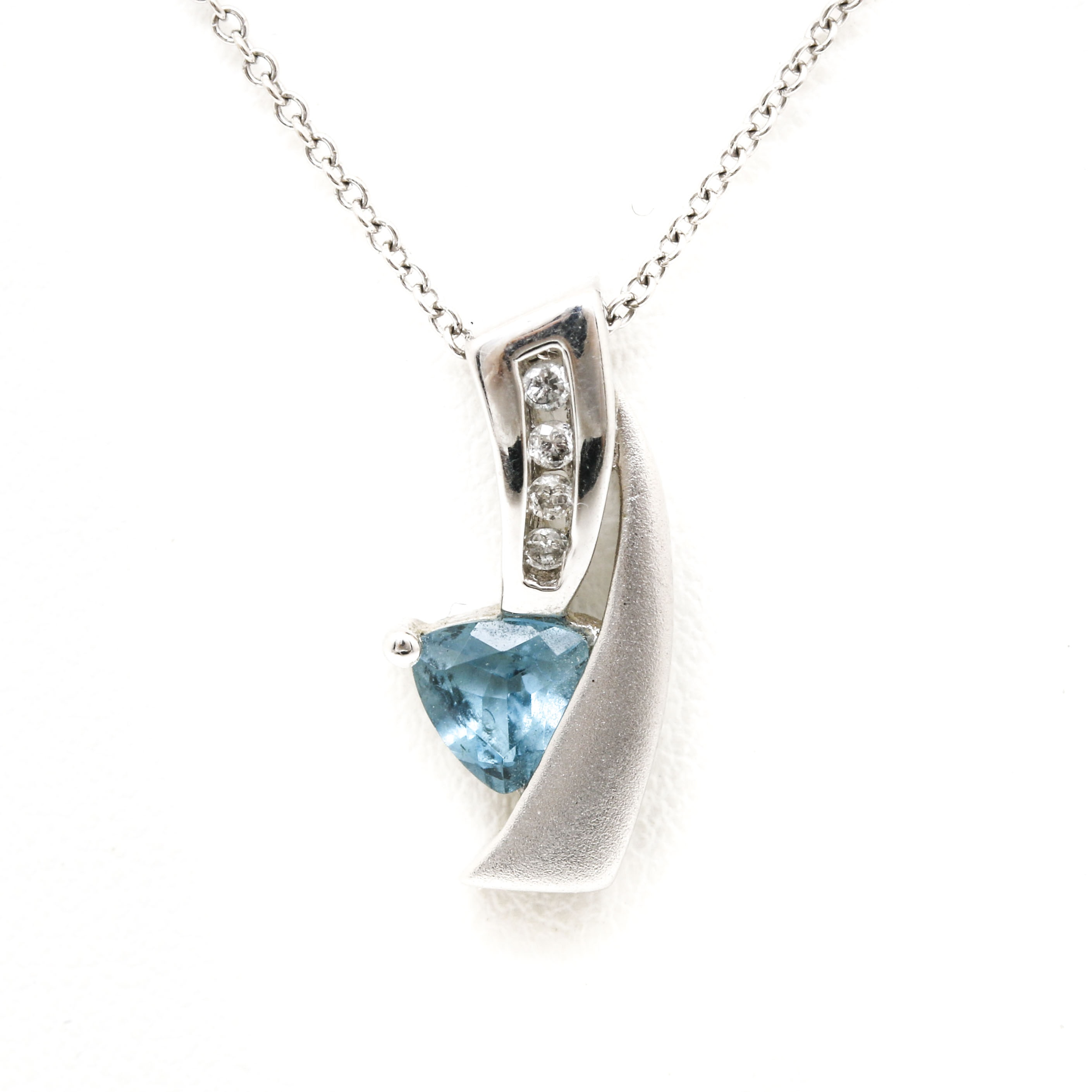 10K White Gold Topaz and Diamond Pendant on 14K Chain Necklace