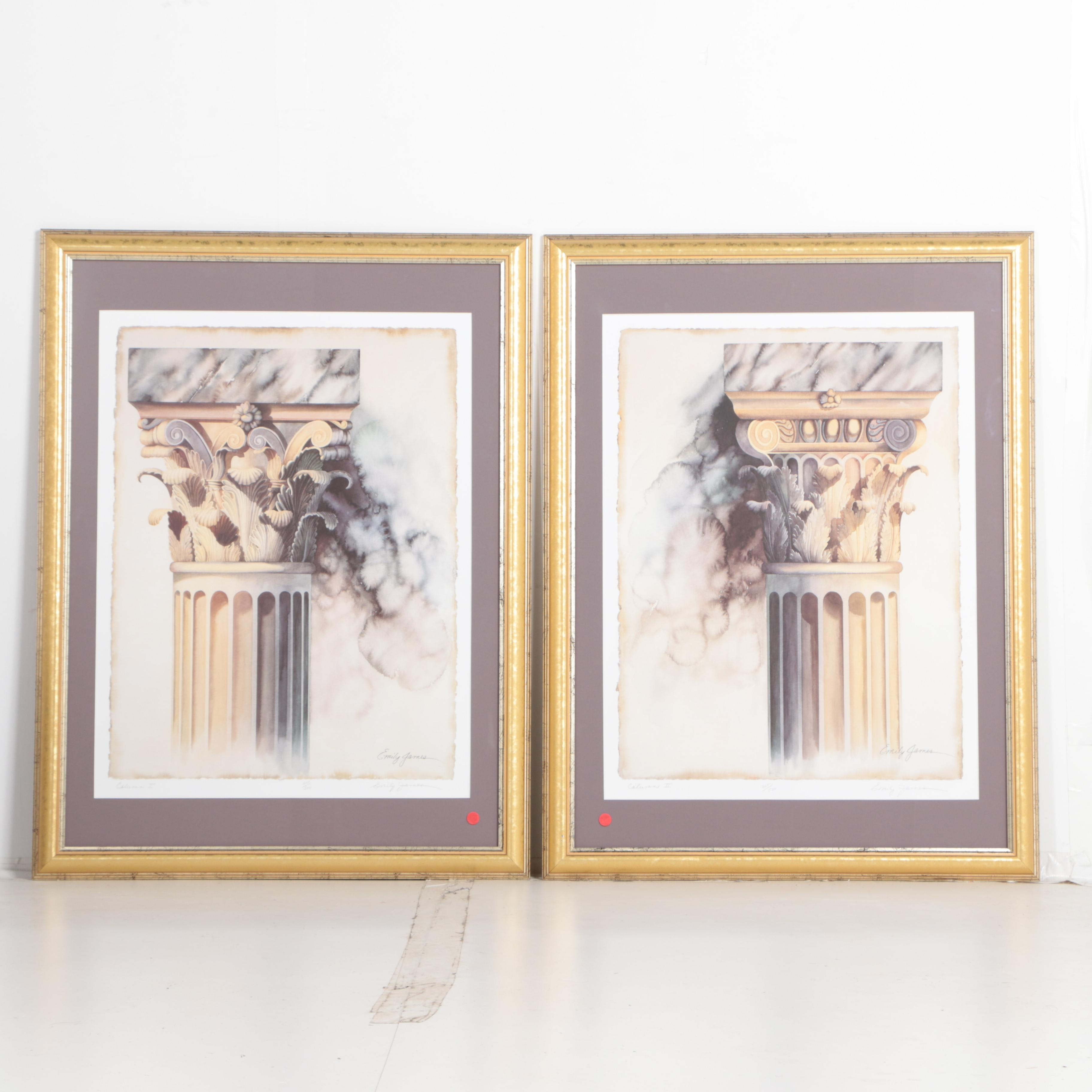 """Two Signed Limited Edition Offset Lithographs after Emily James """"Column I"""" and """"Column II"""""""