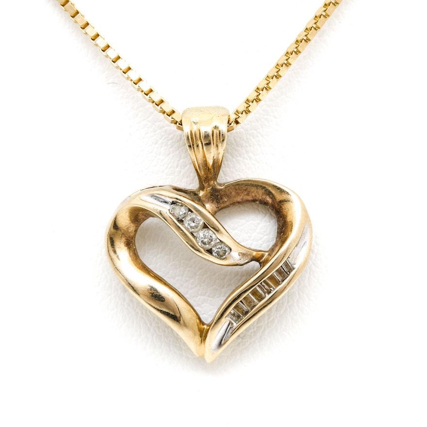 10k yellow gold diamond heart pendant necklace ebth 10k yellow gold diamond heart pendant necklace mozeypictures Choice Image