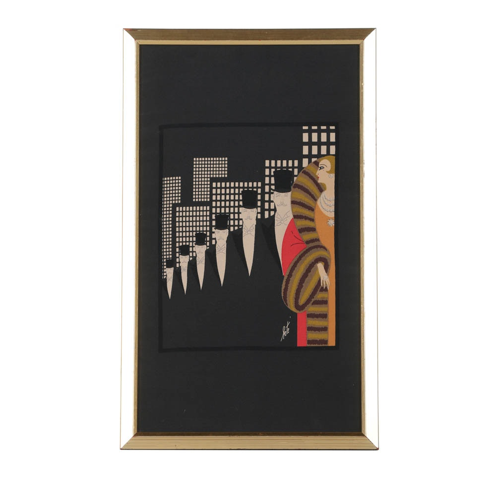 """Art Deco Style Serigraph Print on Silk After Erté """"Top Hats"""""""