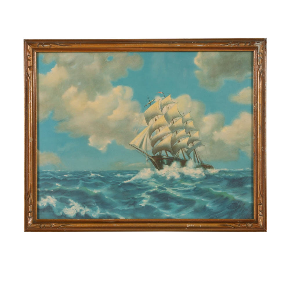 Reproduction Print After R. Atkinson Fox of a Ship