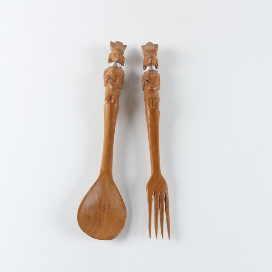 African Wooden Salad Servers With Figural Handles Ebth