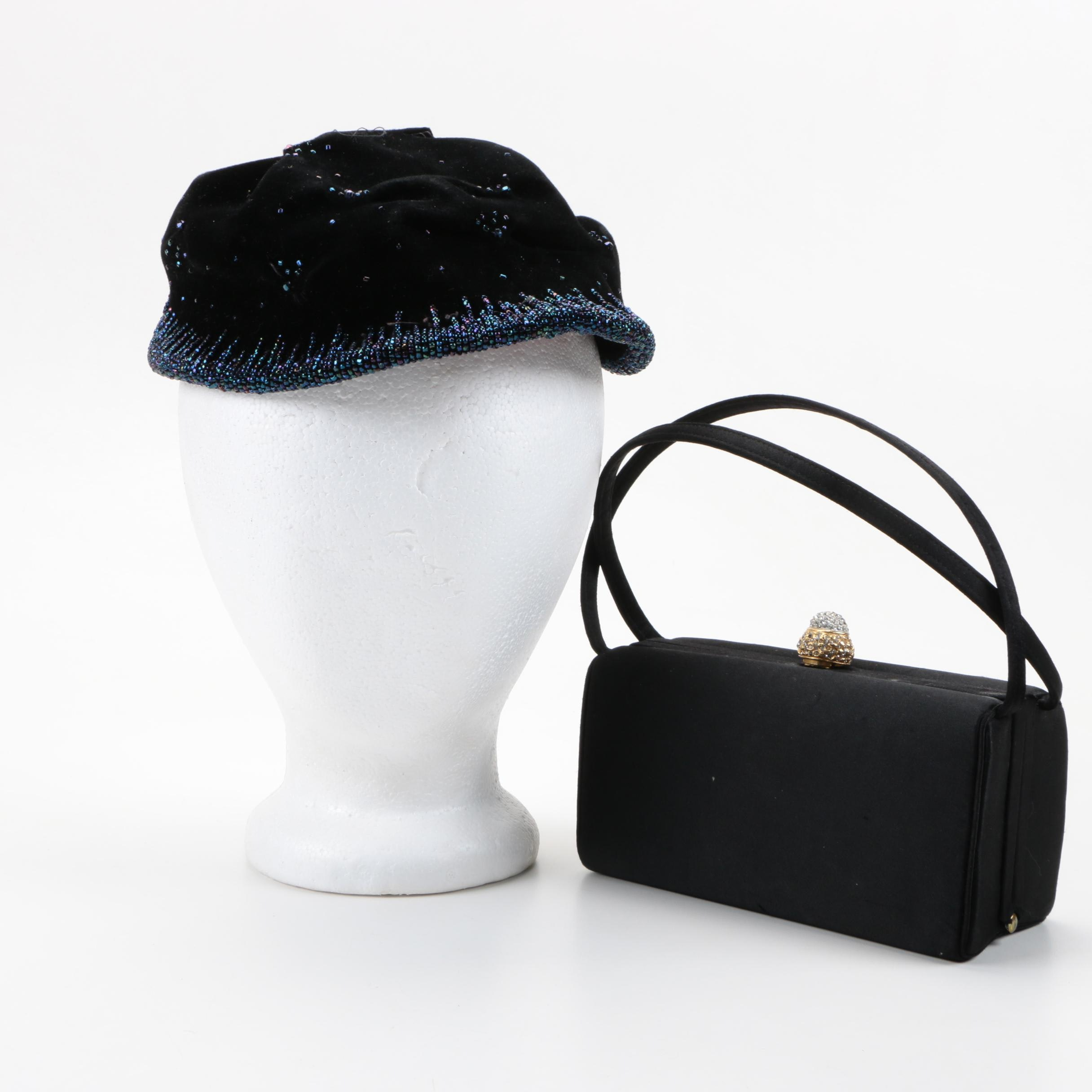 Vintage Beaded Hat and Evening Bag