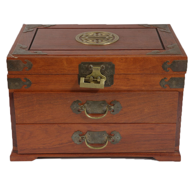 Vintage Chinese Jewelry Box with Lock EBTH