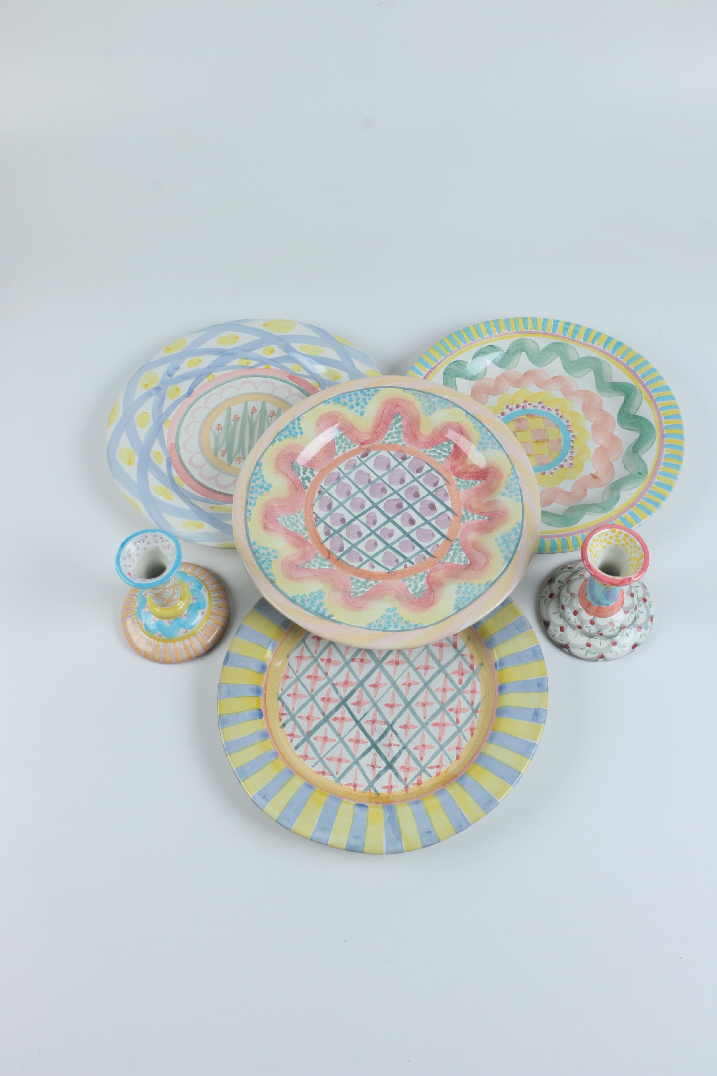 Mackenzie-Childs Hand Painted Pastel Dishes and Candlesticks