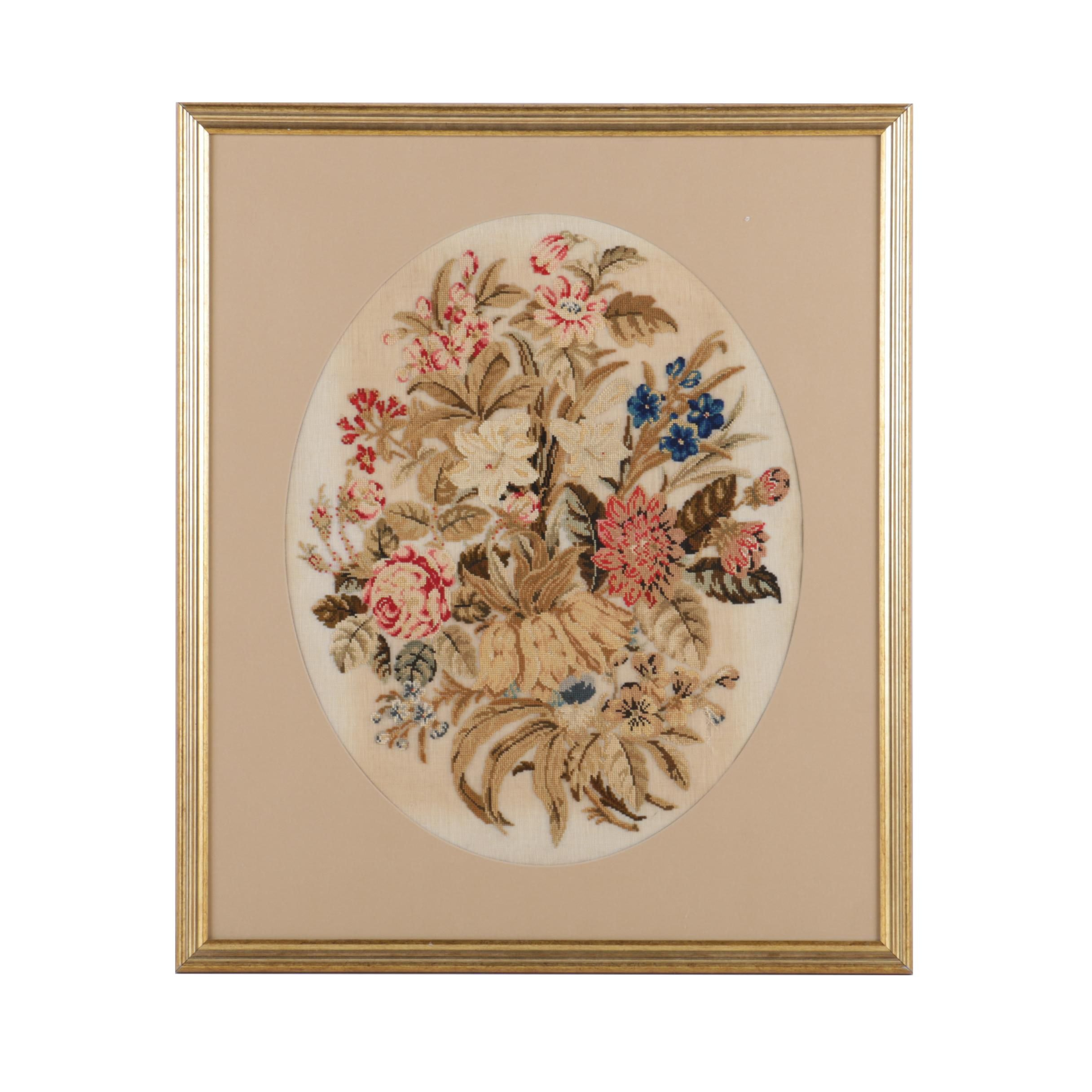 Vintage Cross-Stitch Embroidery of Flowers