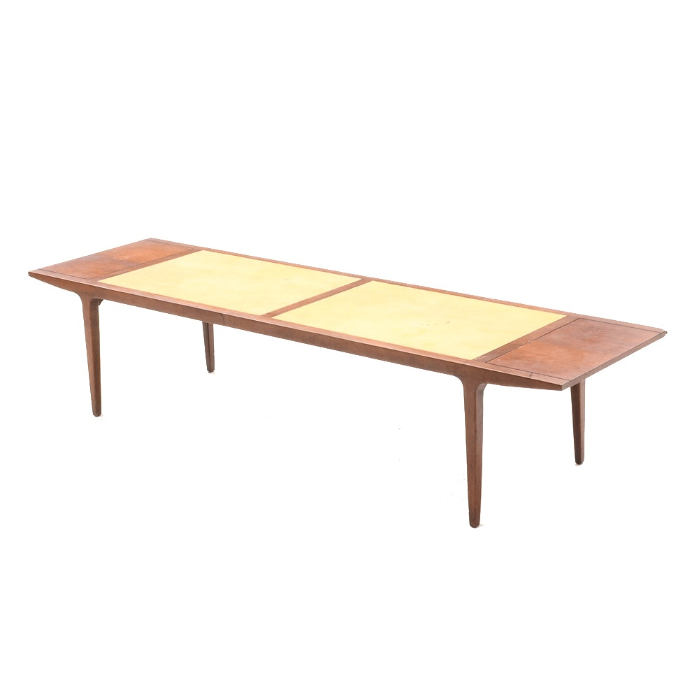 Mid Century Modern Coffee Table with Leather Inlay by Drexel