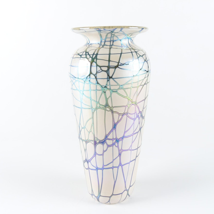 Cased Glass Vase With A Blue Green Iridescent Exterior Ebth
