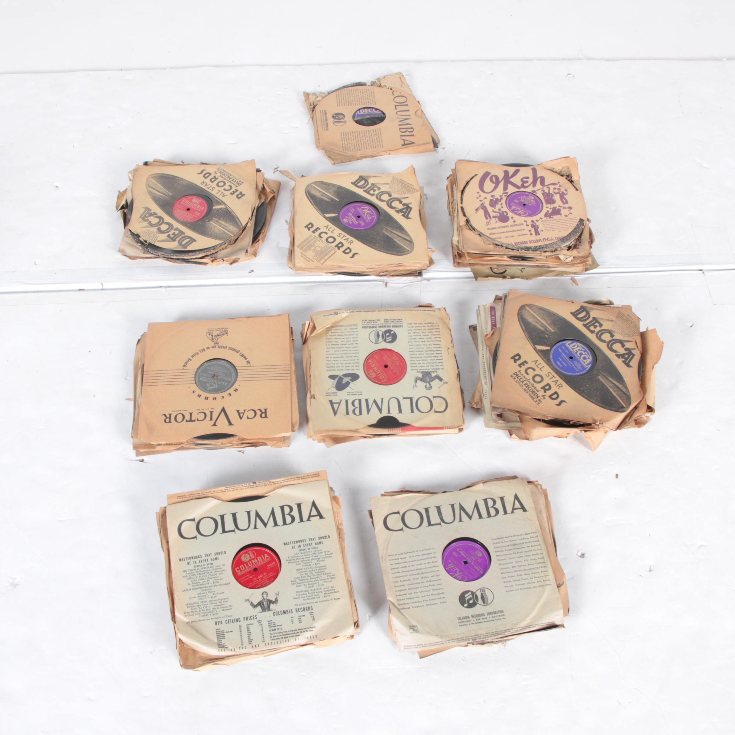 Bing Crosby, Glenn Miller, Harry James, and Other 78 rpm Records