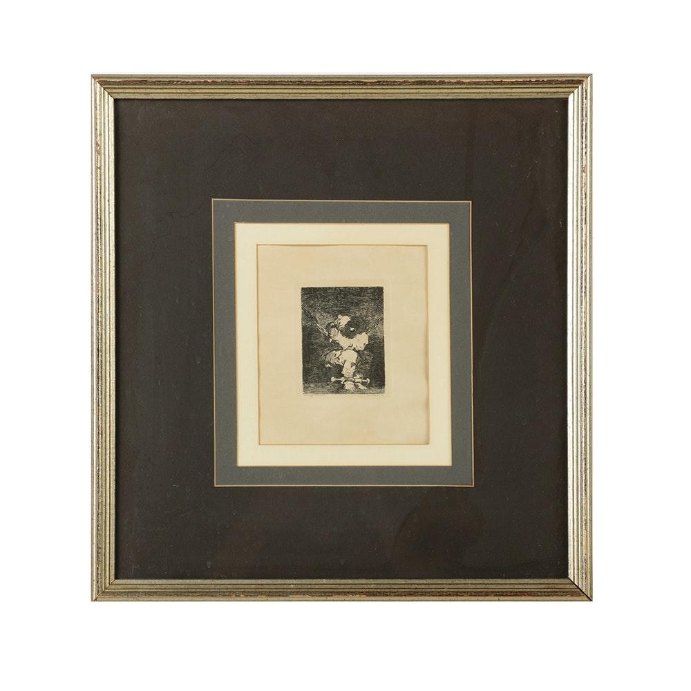 """Gazette des Beaux-Arts Restrike Etching After Francisco Goya's """"The Prisoner"""""""