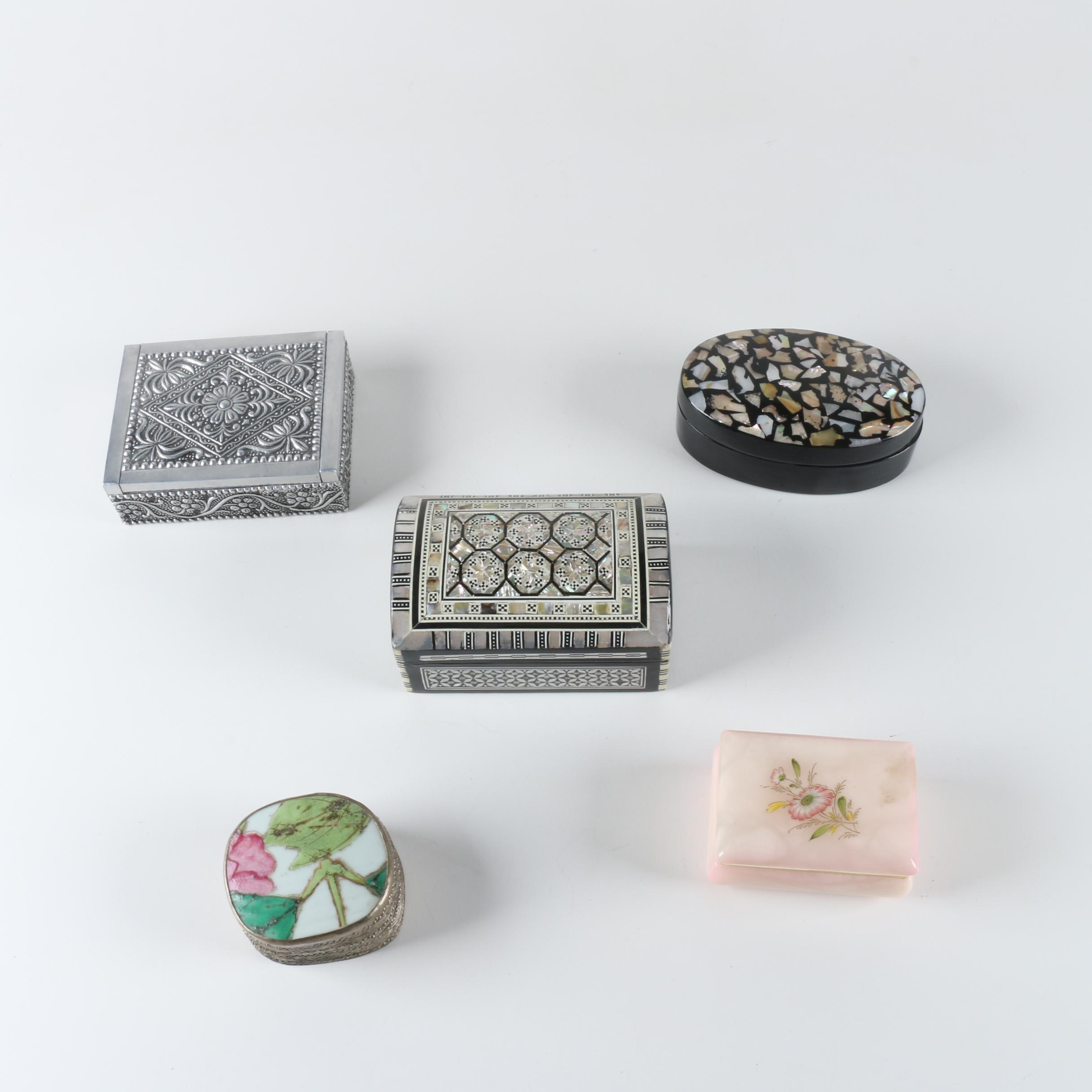 Assorted Pattern and Material Trinket Boxes