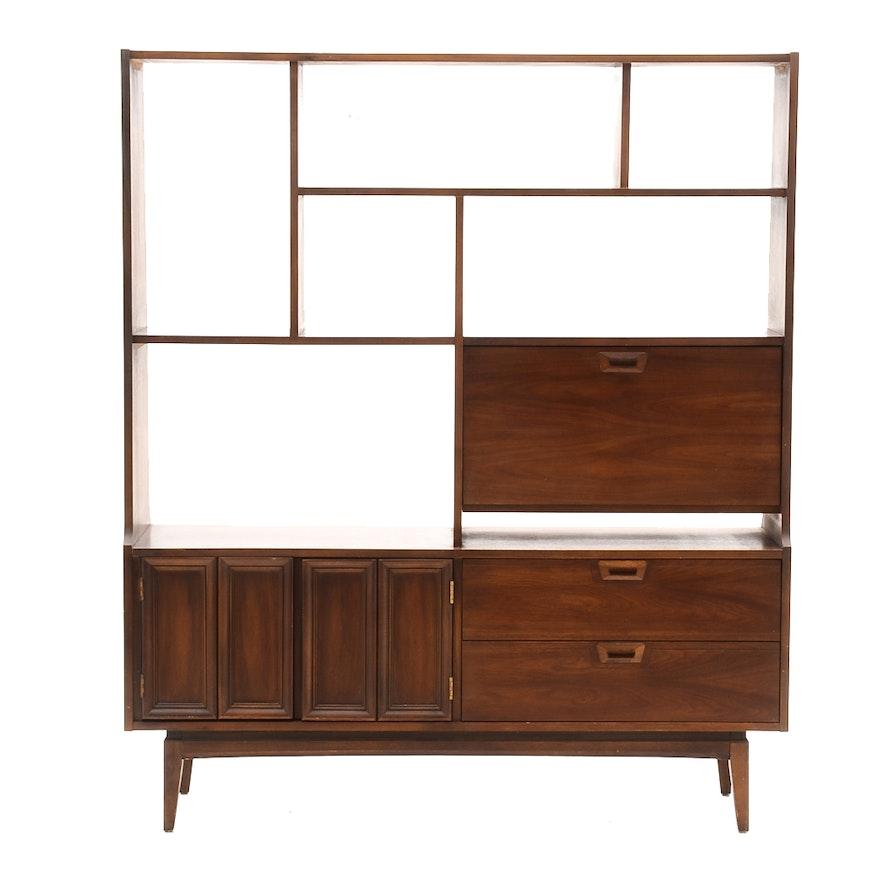 mid century modern walnut bookcase room divider ebth. Black Bedroom Furniture Sets. Home Design Ideas