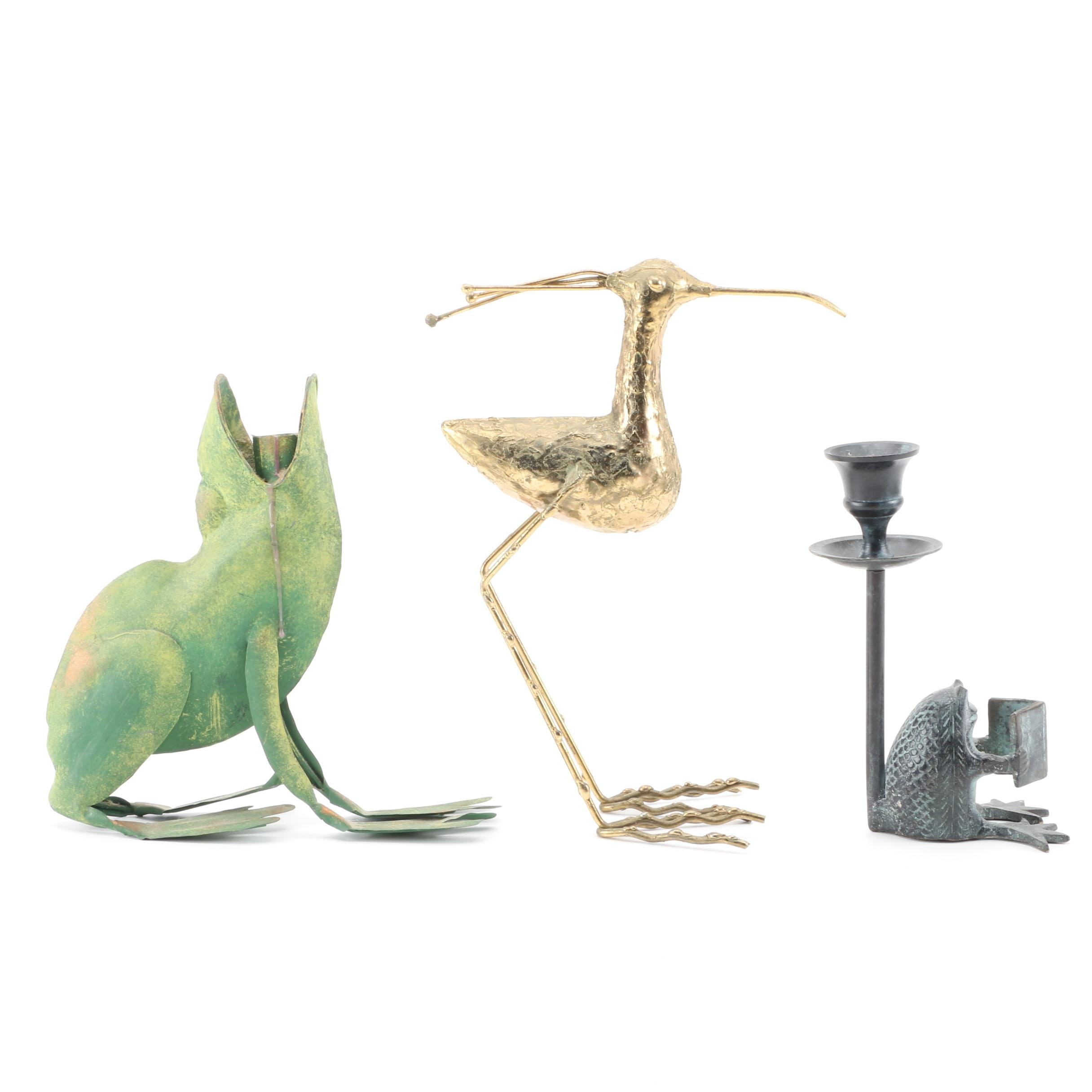 Pair of Frog Candle Holders With a Bird Figurine