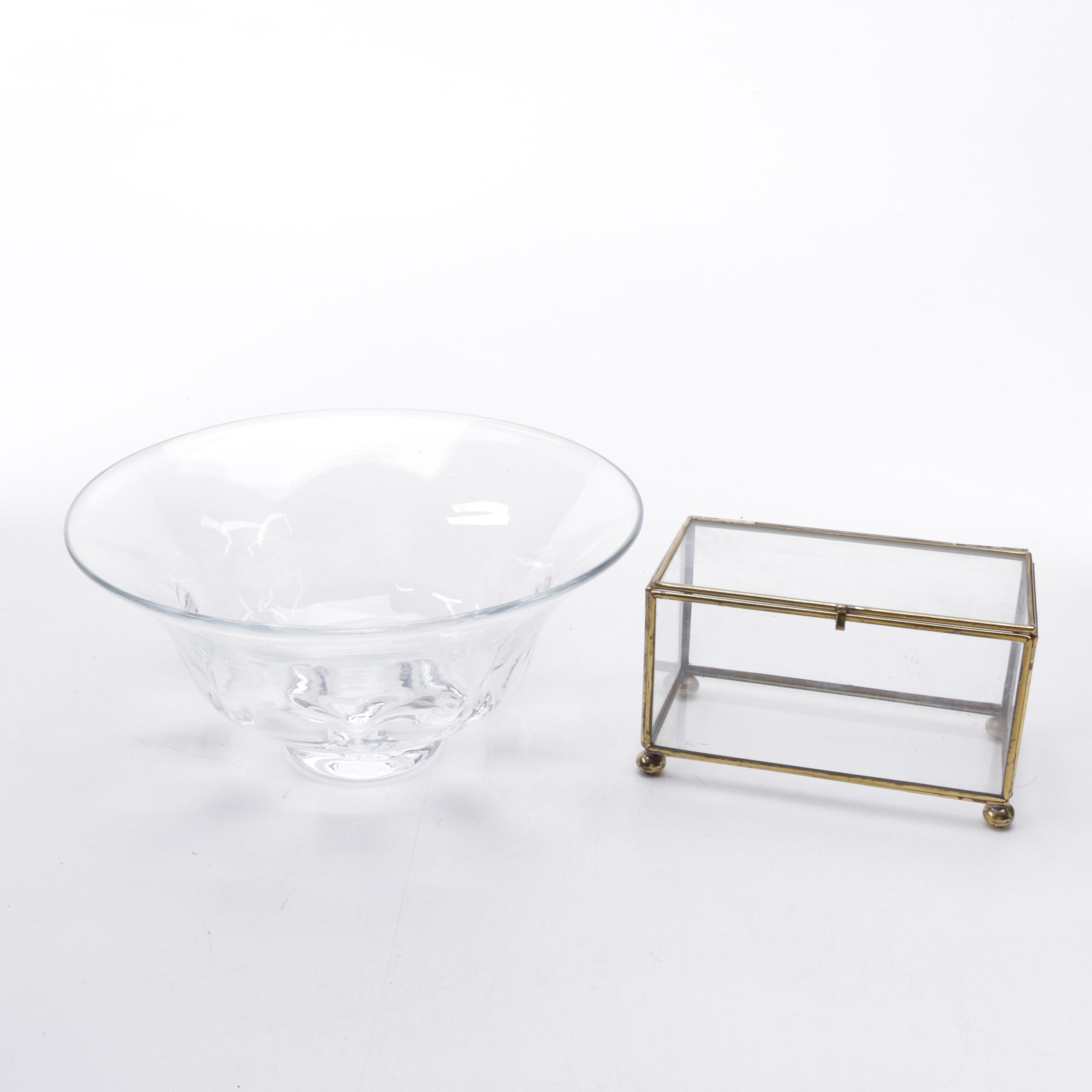 "Simon Pearce ""Shelburne"" Footed Crystal Bowl with Brass and Glass Box"
