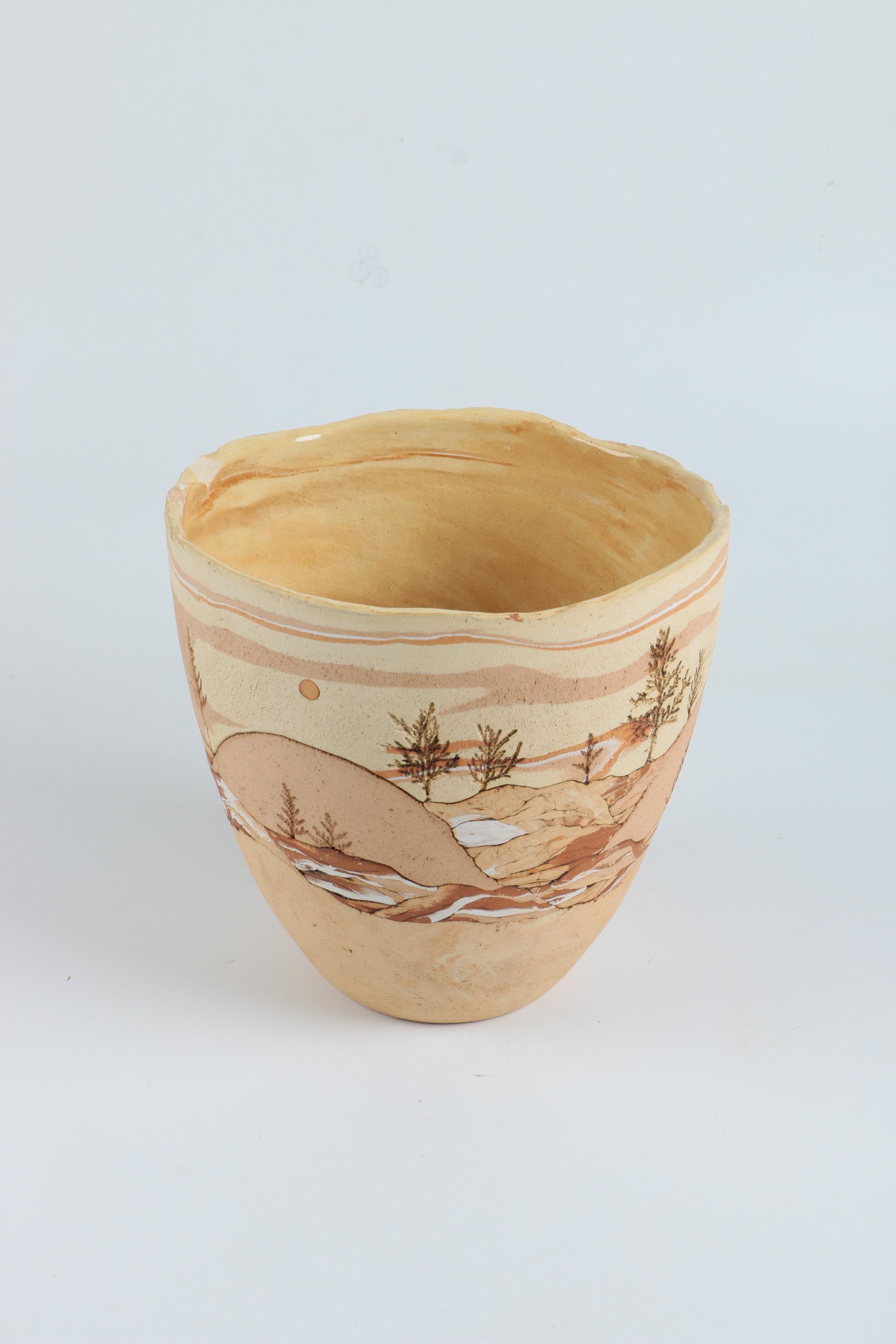 Handbuilt Inlay Stoneware Vase