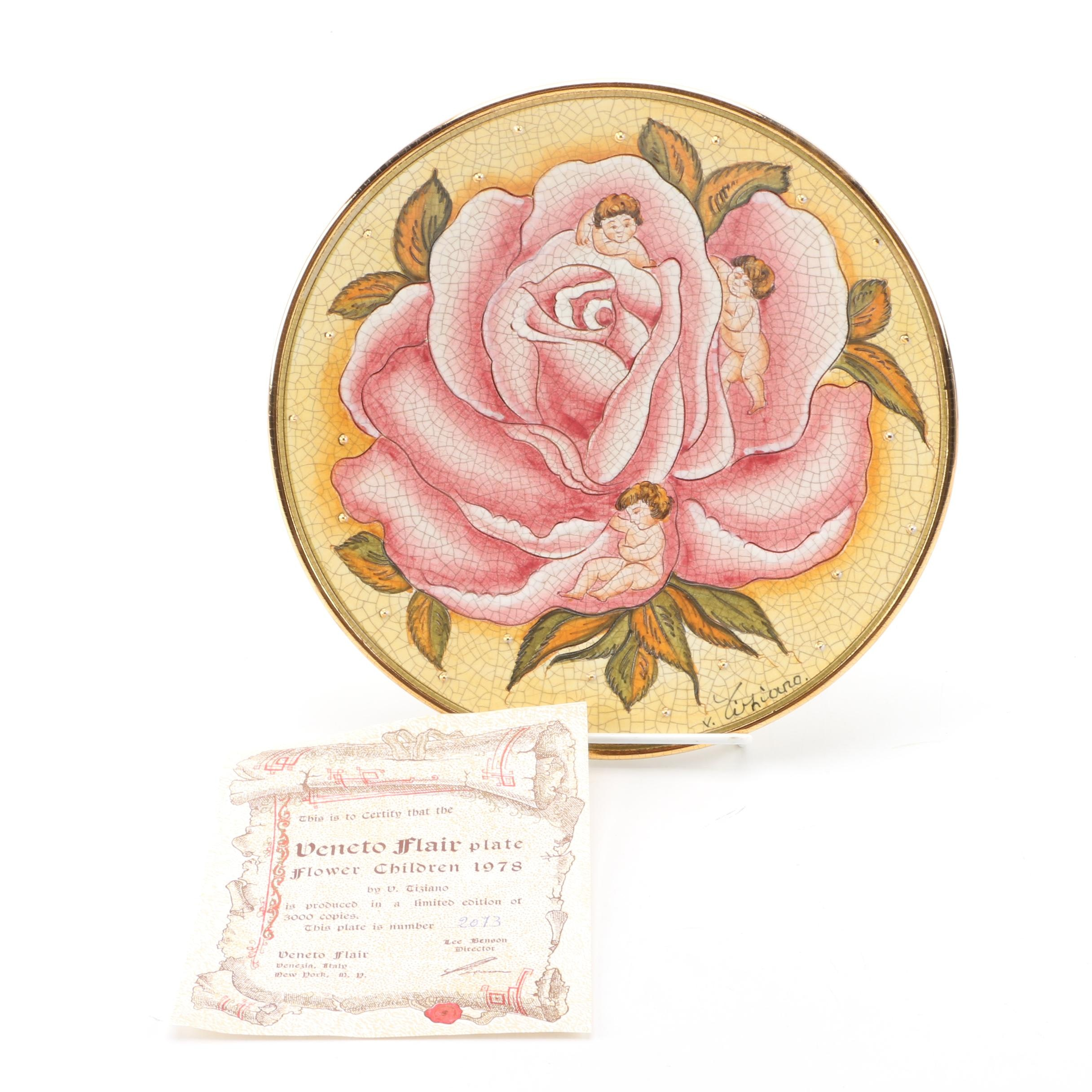 "1978 Limited Edition Veneto Flair ""Flower Children"" Collectors Plate"