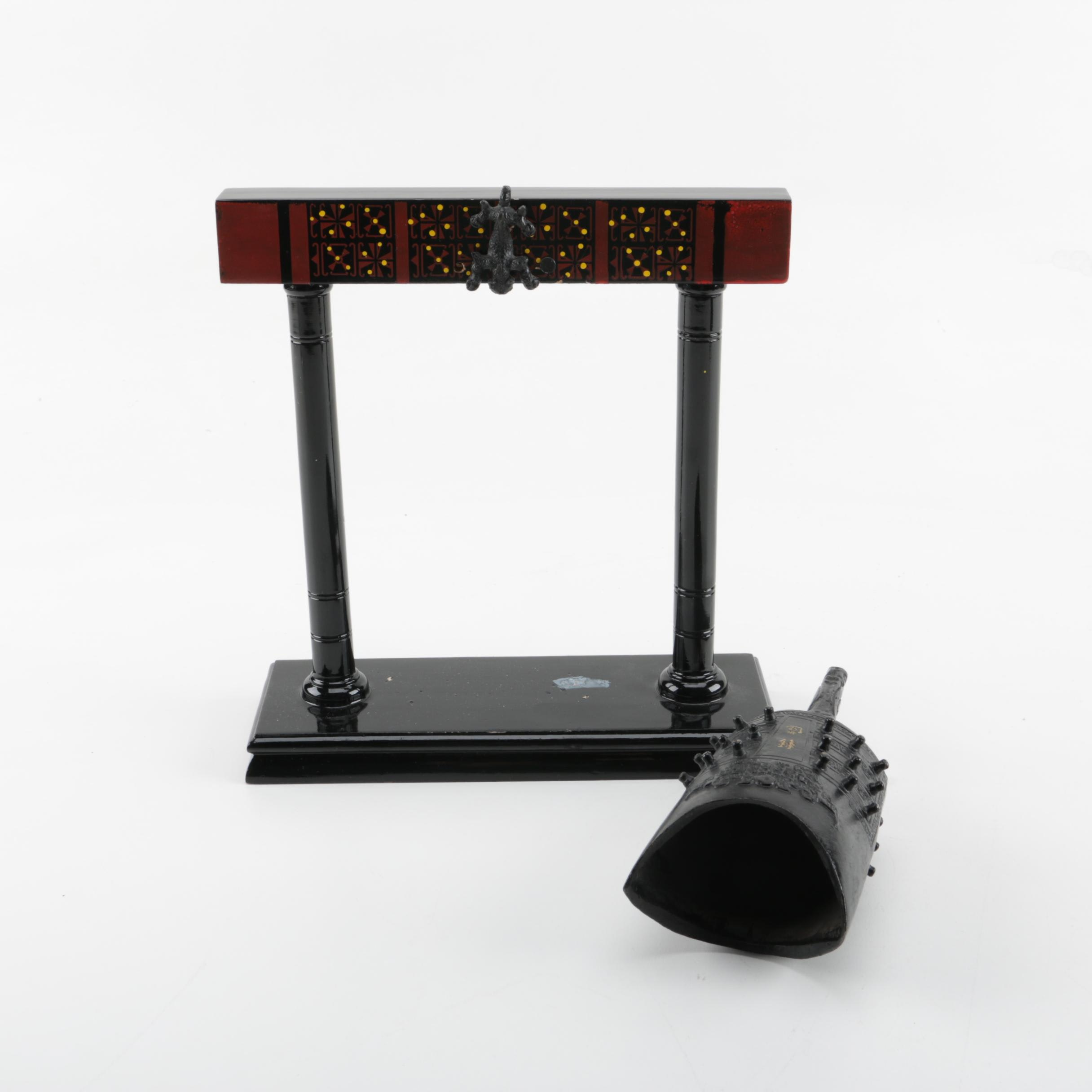 Asian Inspired Temple Bell on Wooden Stand