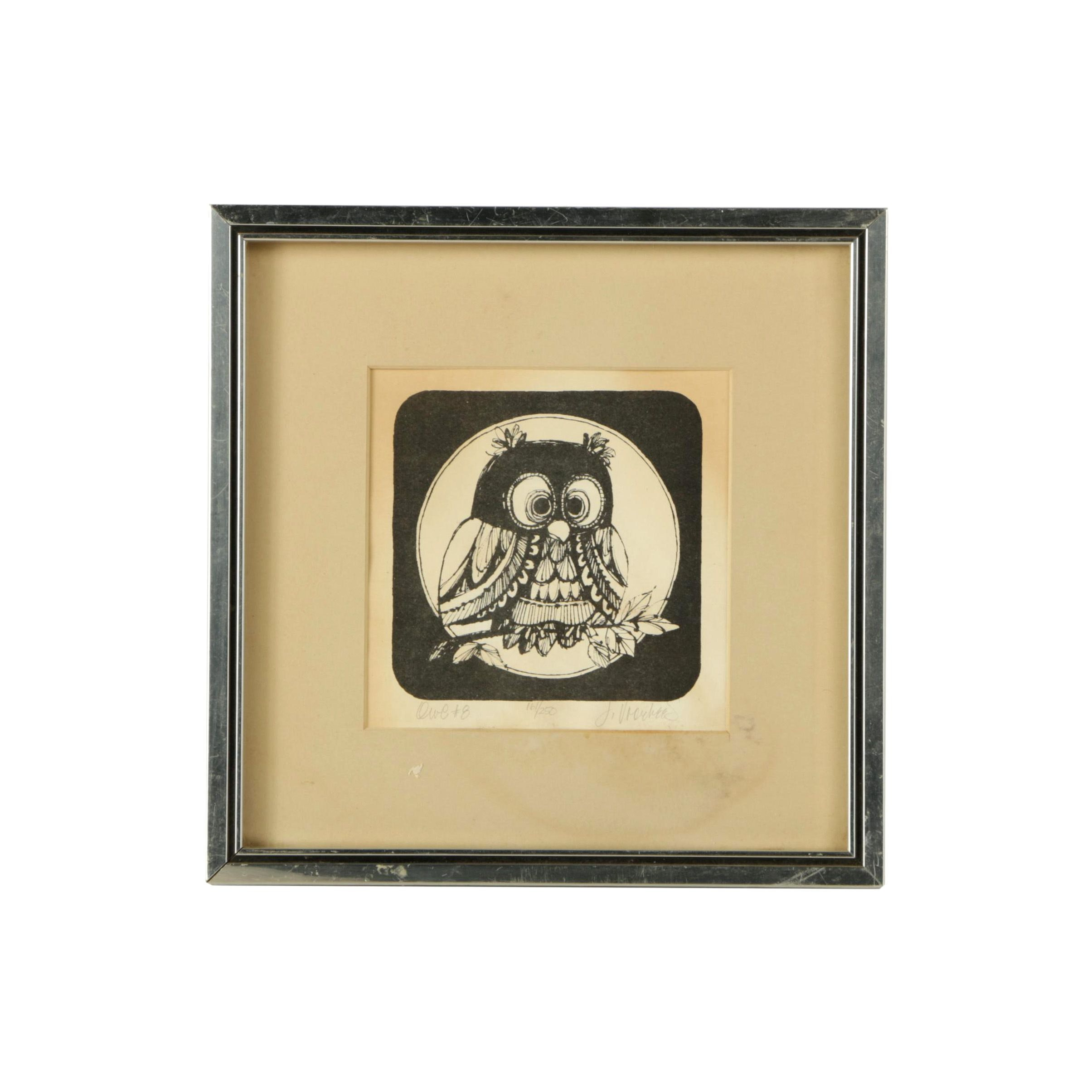 """Signed Limited Edition Lithograph on Paper """"Owl #8"""""""