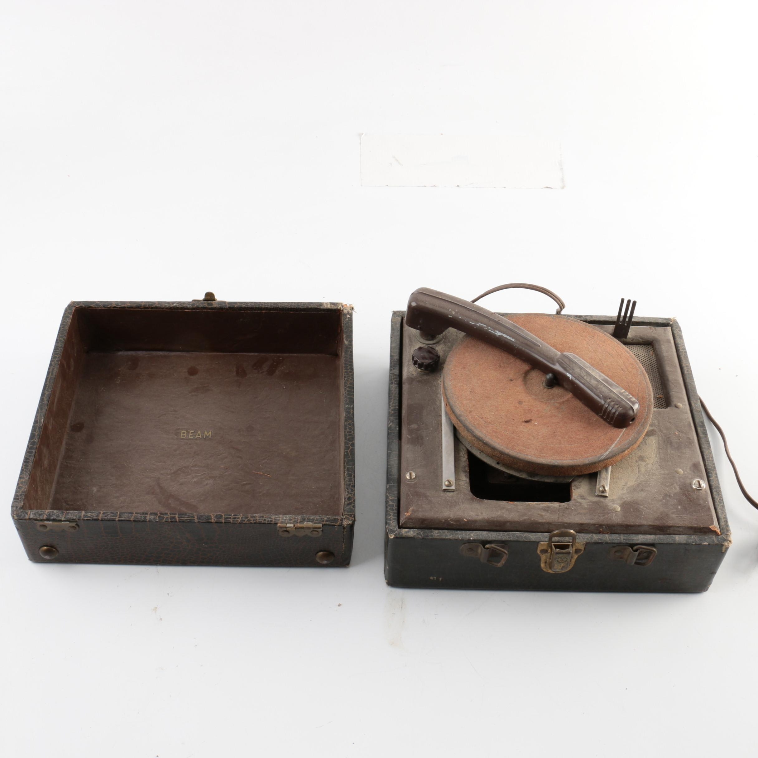 Vintage Beam Art Deco Suitcase-Style Record Player