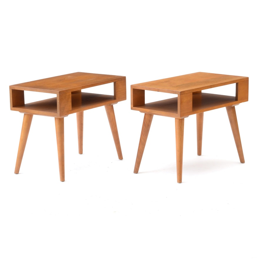 Mid Century Modern Birch Side Tables By Conant Ball