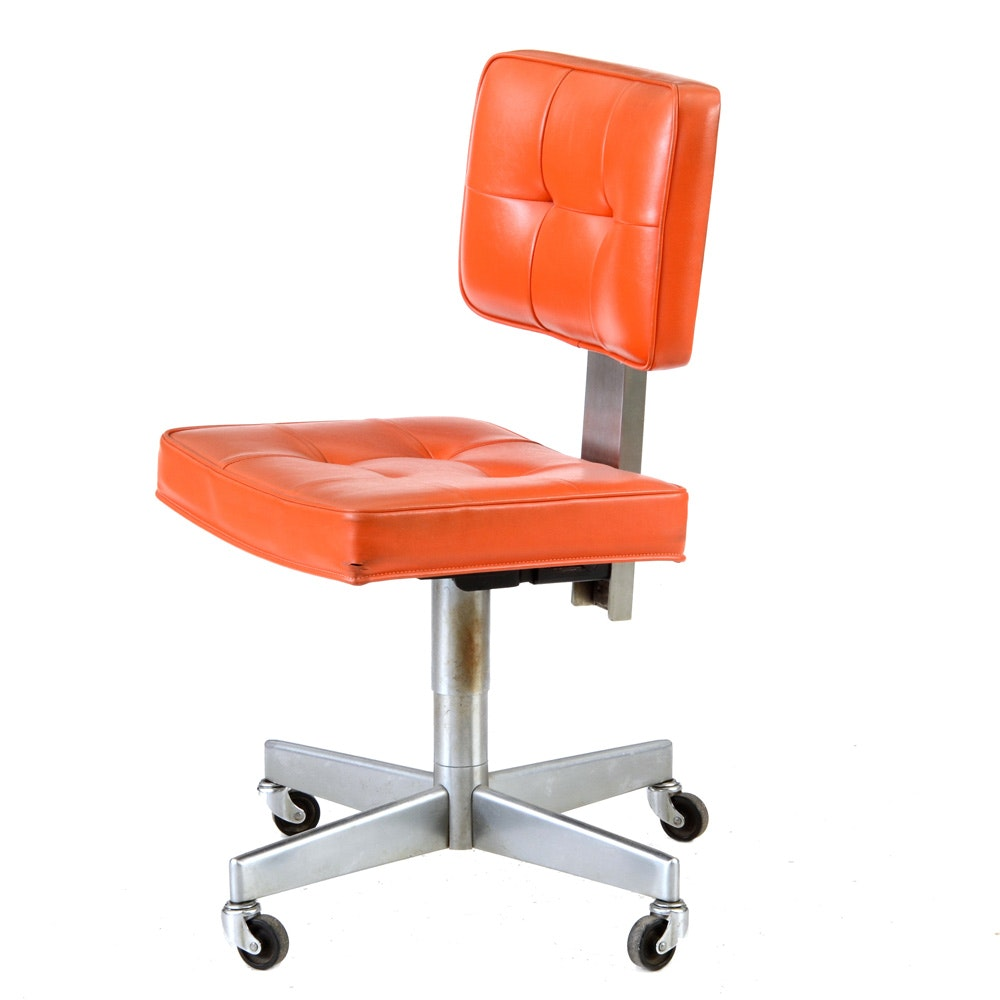 Vintage Shaw-Walker Desk Chair in Orange Vinyl