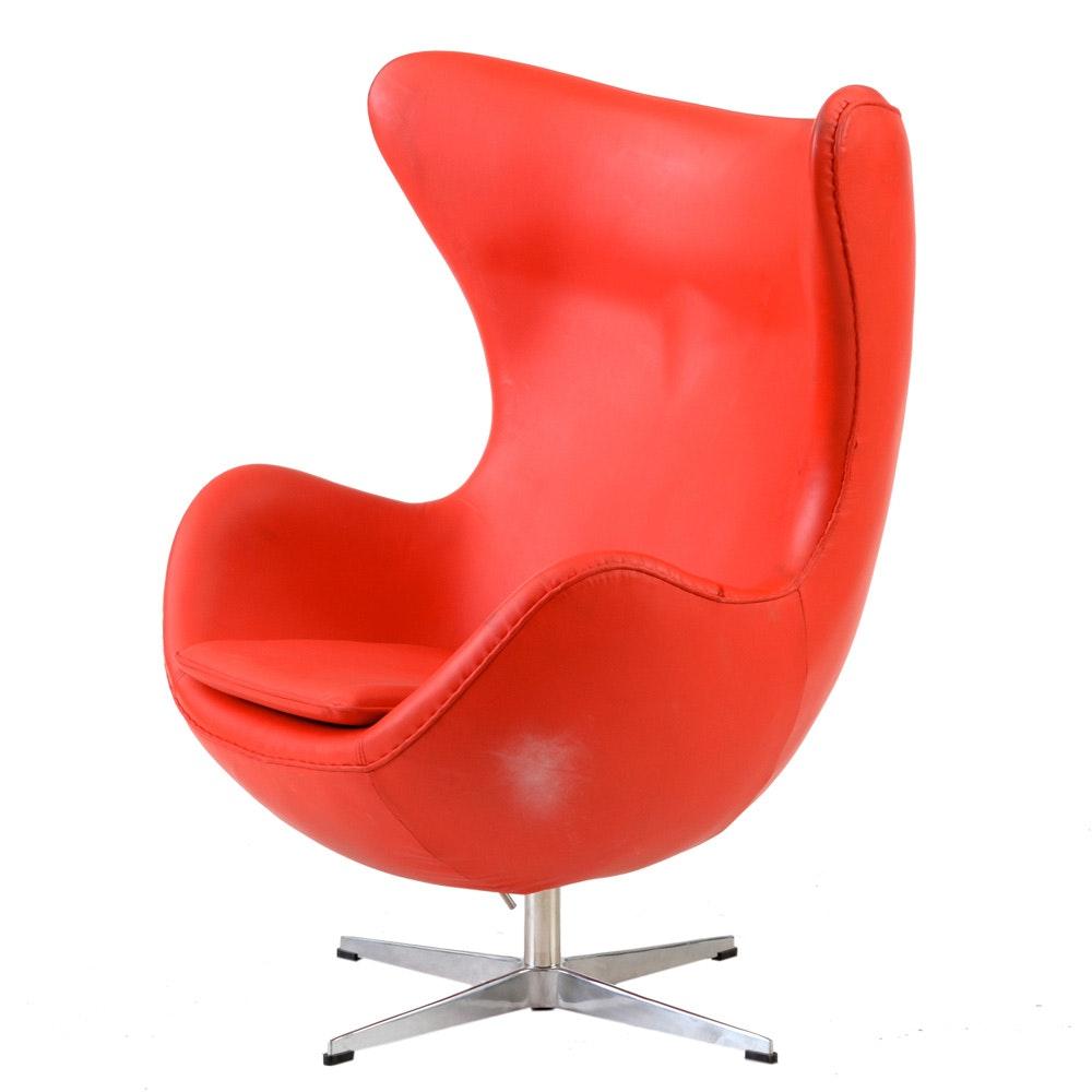 Contemporary Mid Century Modern Red Vinyl Egg Chair