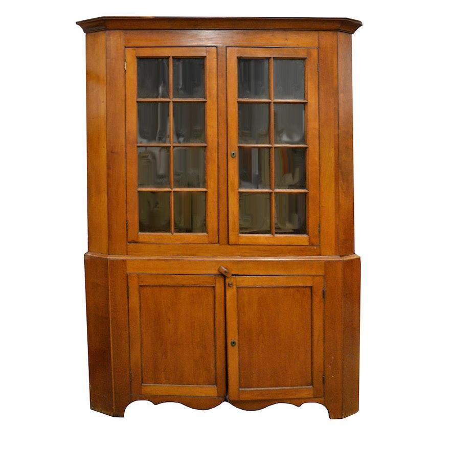 Antique Cherry Corner Cabinet ... - Antique Cherry Corner Cabinet : EBTH