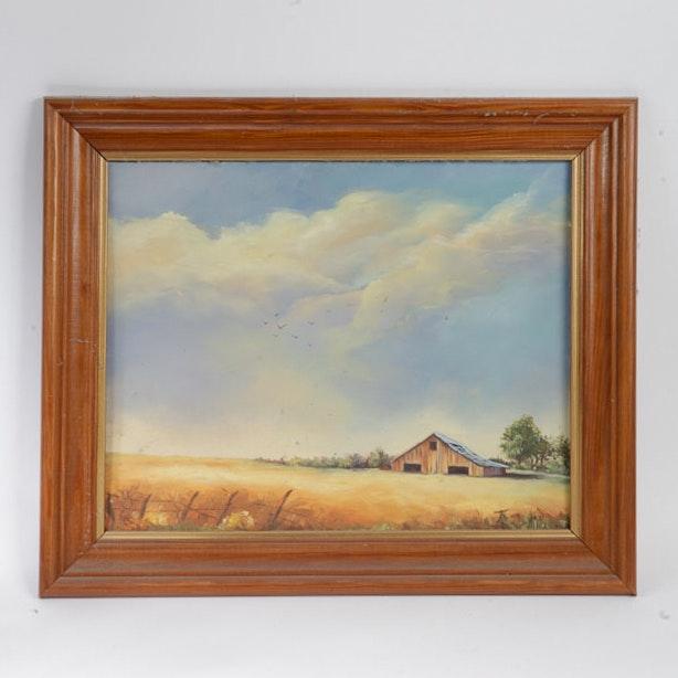 Lorene Mier Oil Painting on Canvas Board of Farm Scene