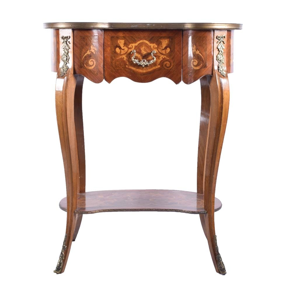 Marquetry Inlay Accent Table