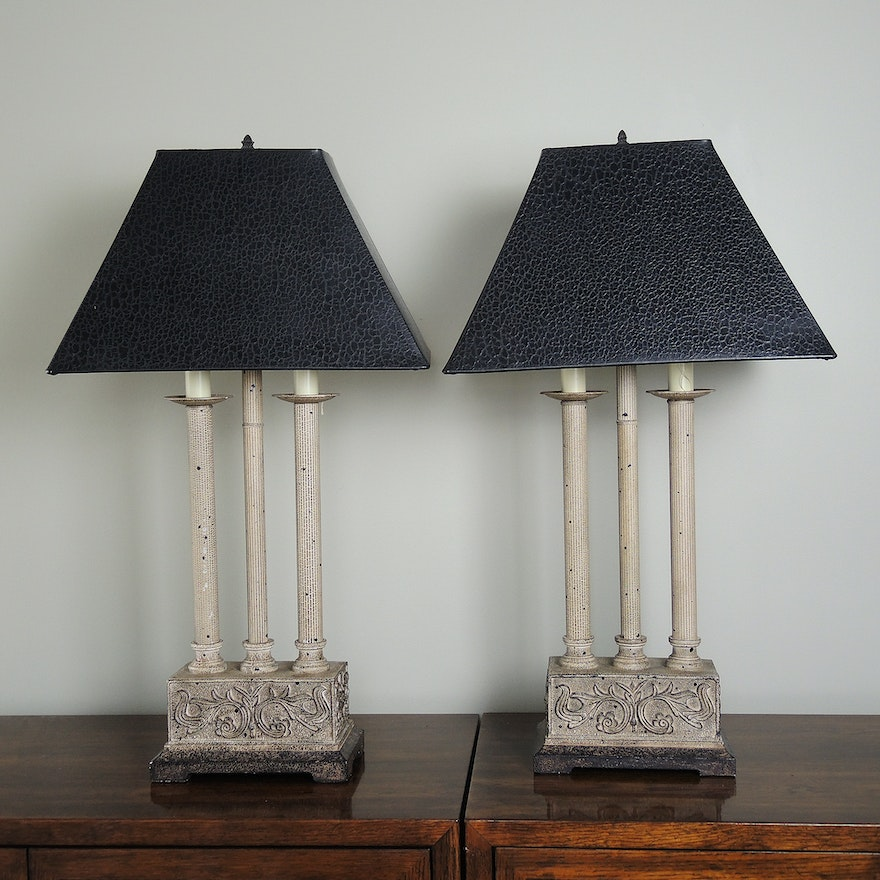 Pair of gothic style table lamps ebth pair of gothic style table lamps mozeypictures Images