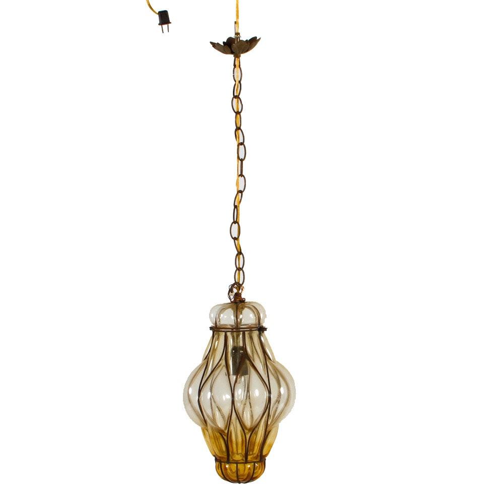 Vintage Glass Swag Pendant Lamp