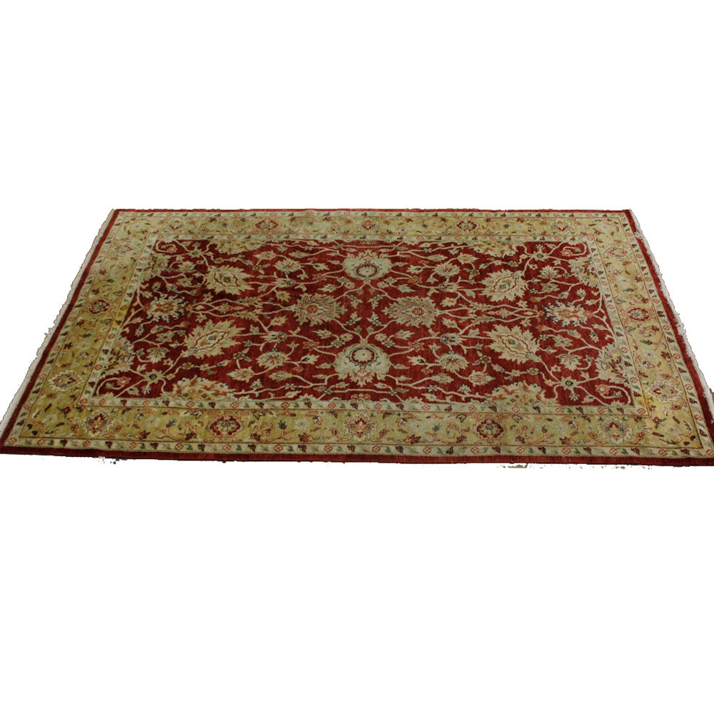 Hand-Knotted Indian Peshawar Wool Area Rug