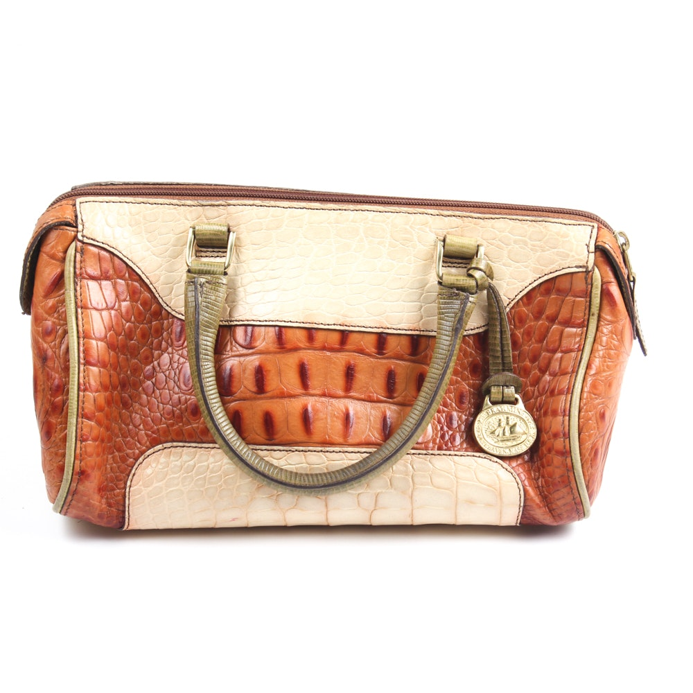 Vintage Brahmin Crocodile Embossed Leather Handbag