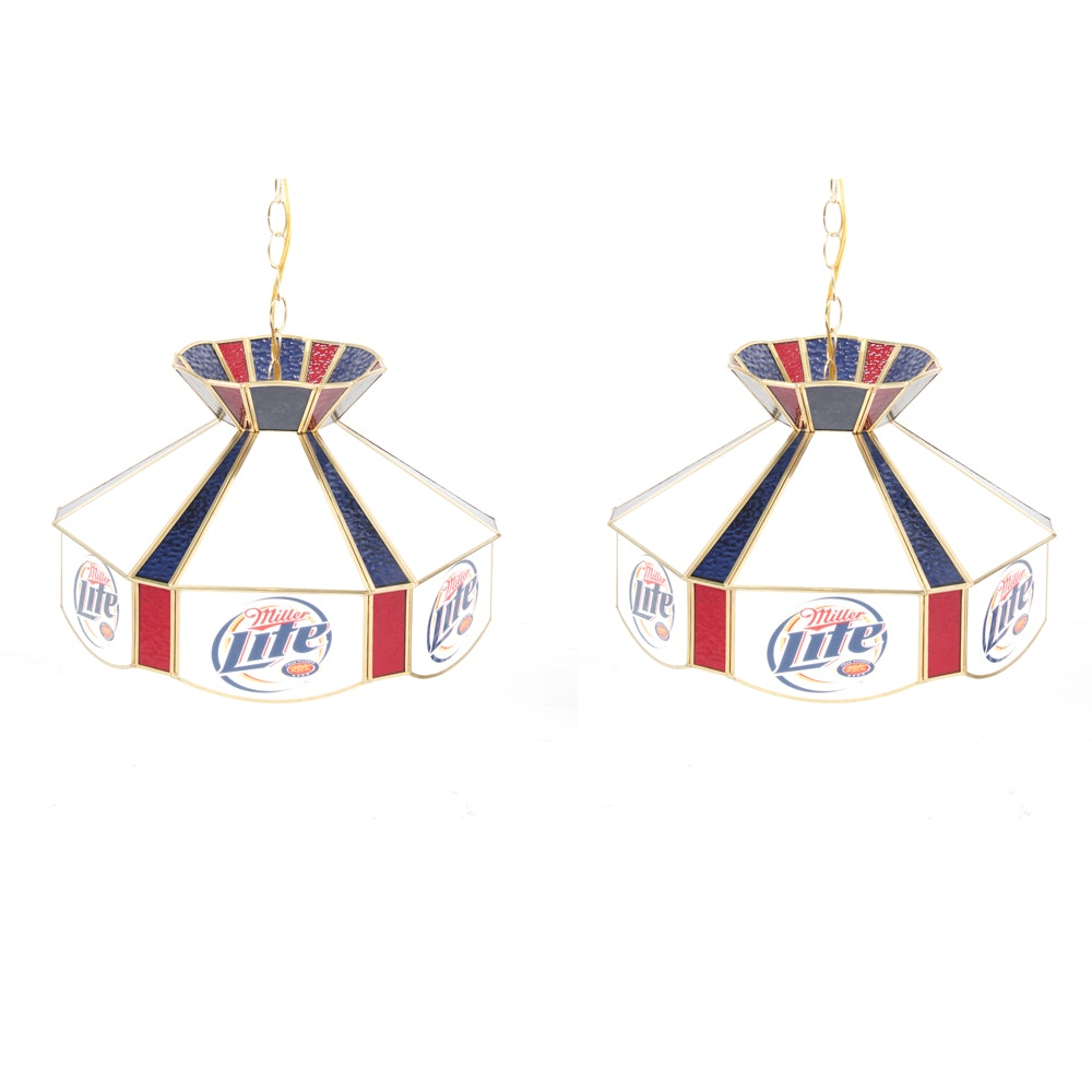 Miller Lite Stained Glass Hanging Lights
