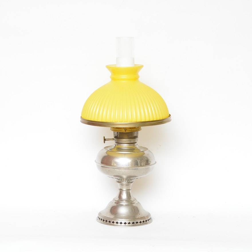 Antique rayo oil lamp with lemon yellow shade ebth antique rayo oil lamp with lemon yellow shade aloadofball Image collections