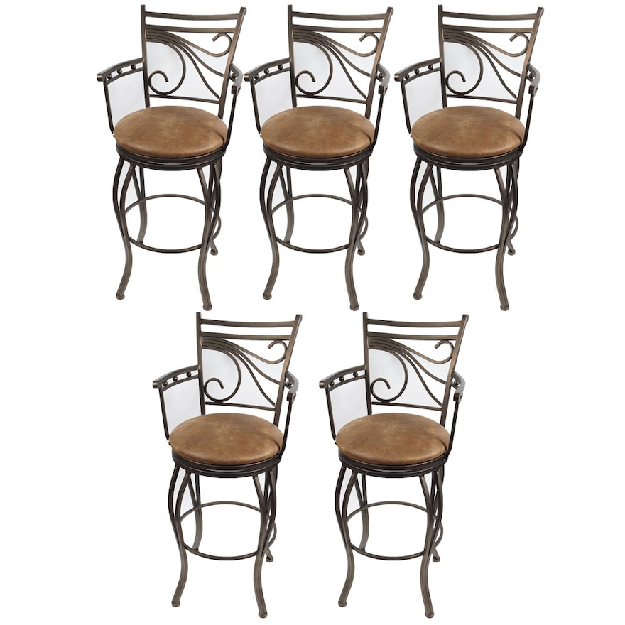 Leather Upholstered Iron Barstools by Camas y Muebles : EBTH
