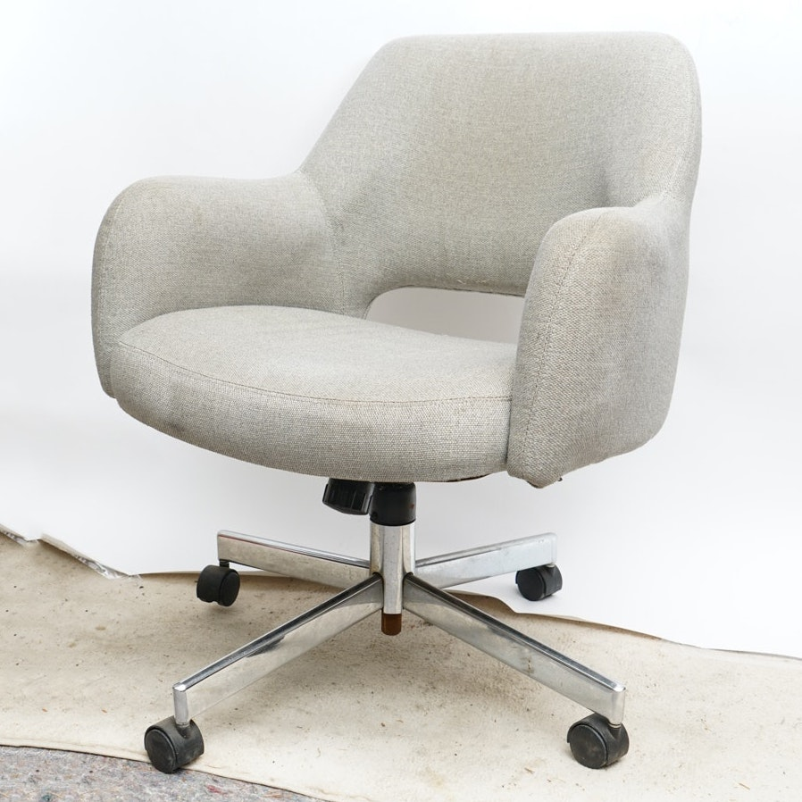 Mid Century Modern Upholstered Swivel Club Chair